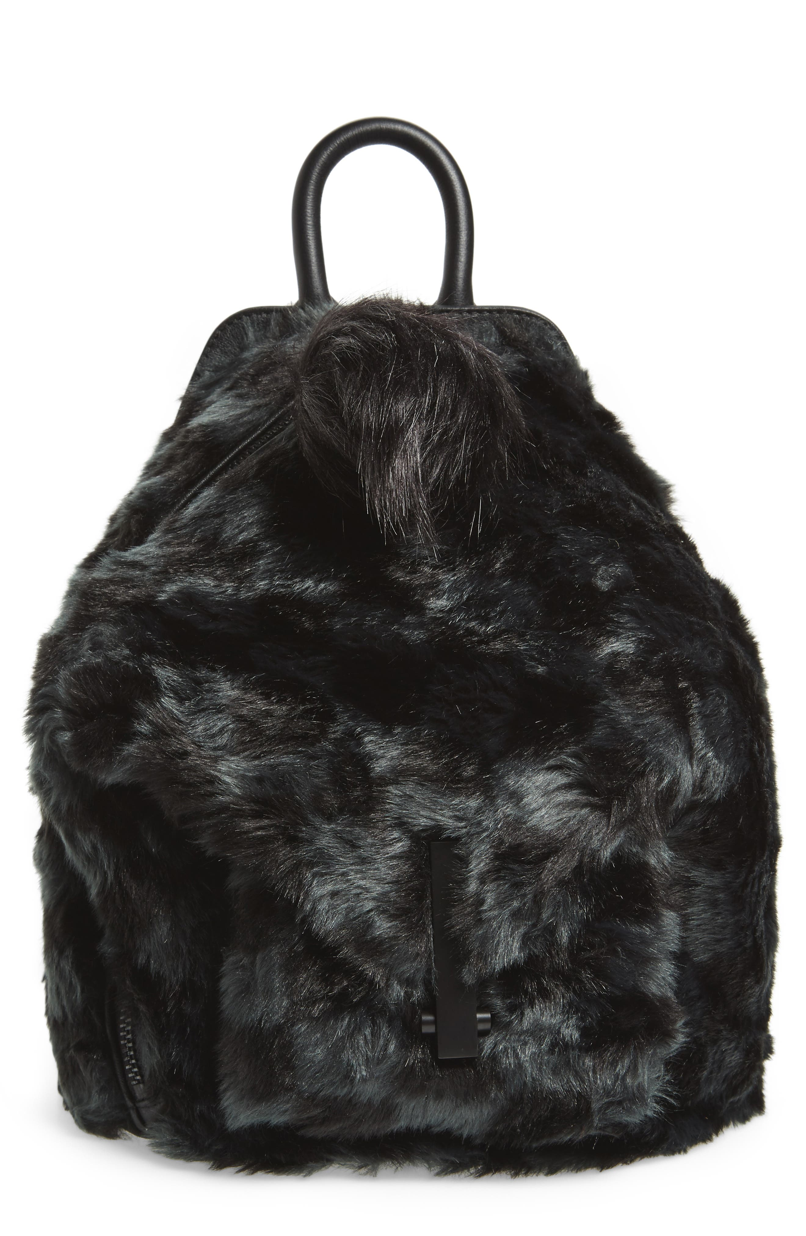 Koenji Faux Fur Backpack,                             Main thumbnail 1, color,                             004