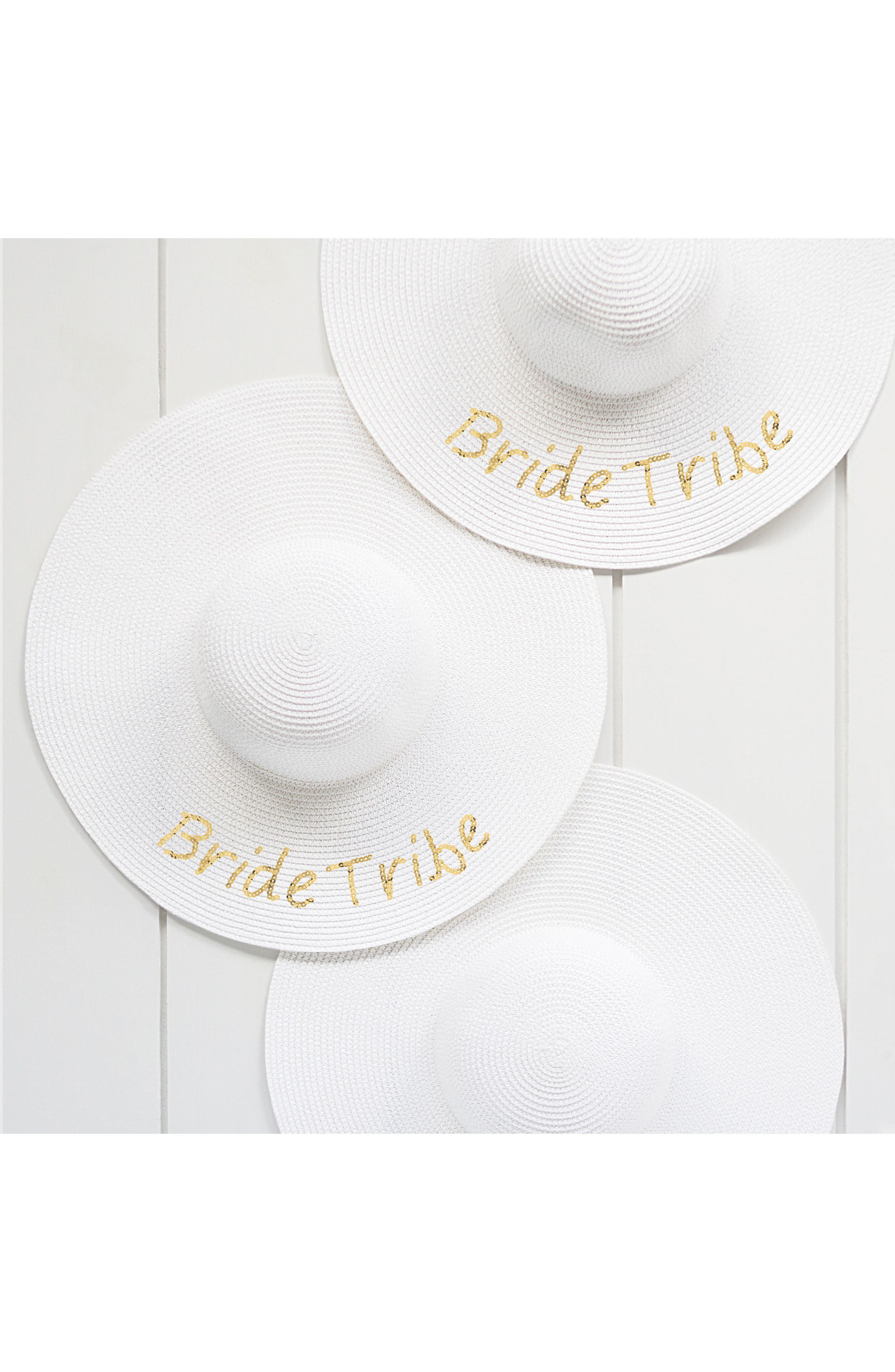 Sequin Bride Tribe Straw Hat,                             Alternate thumbnail 3, color,