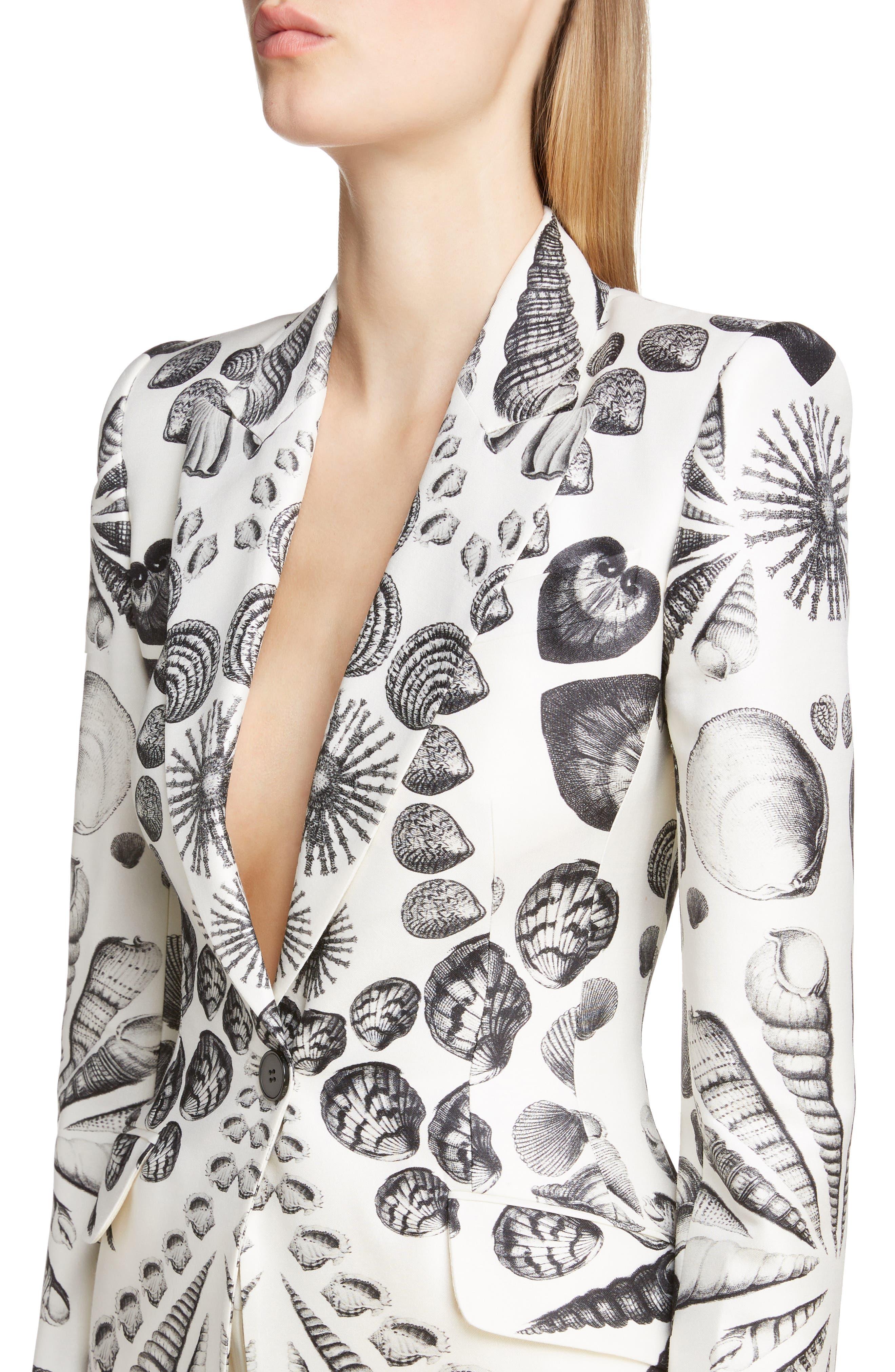 Shell Print Wool & Silk Blazer,                             Alternate thumbnail 4, color,                             IVORY BLACK