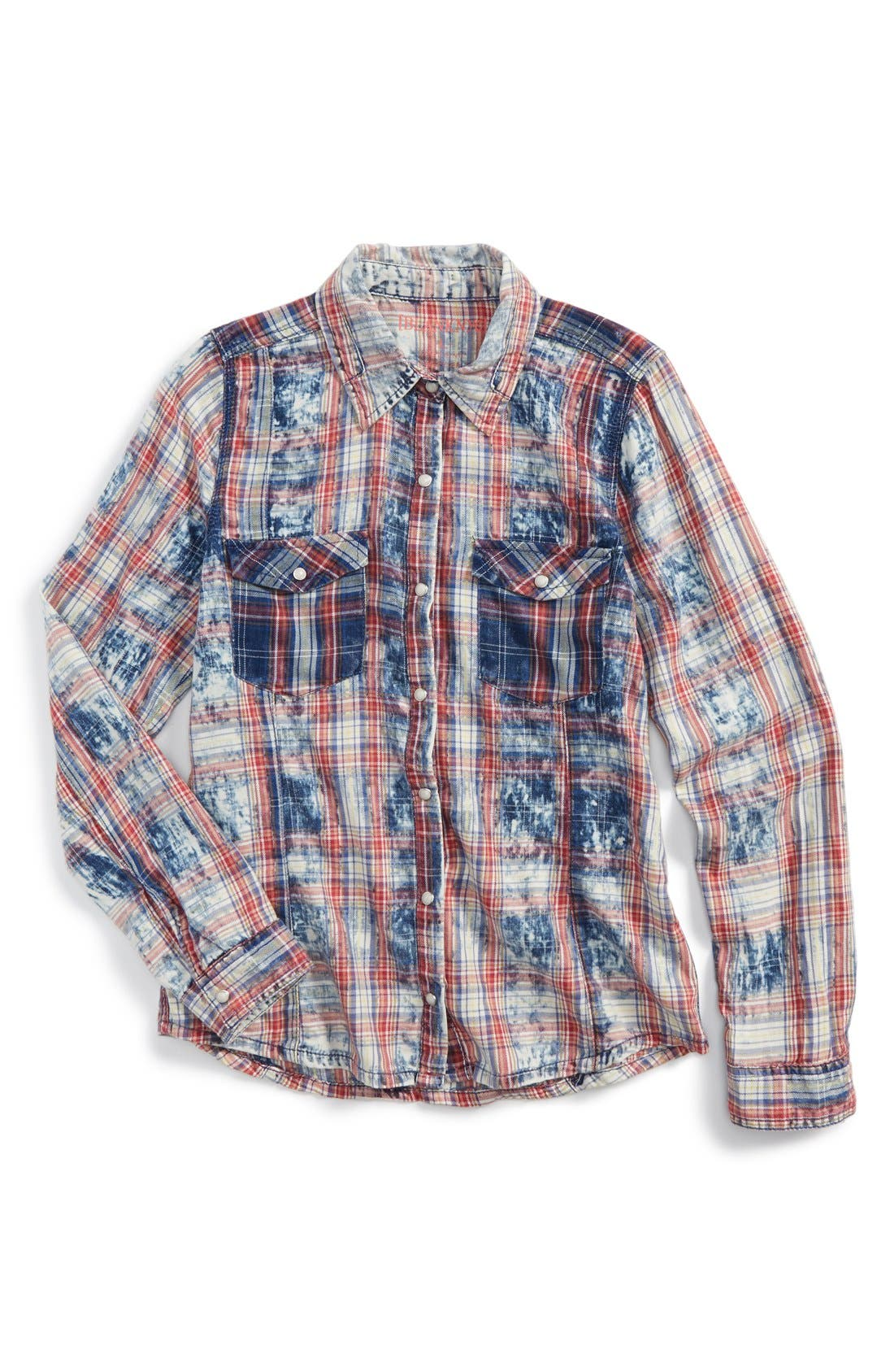 Tie Dye Plaid Shirt, Main, color, 985
