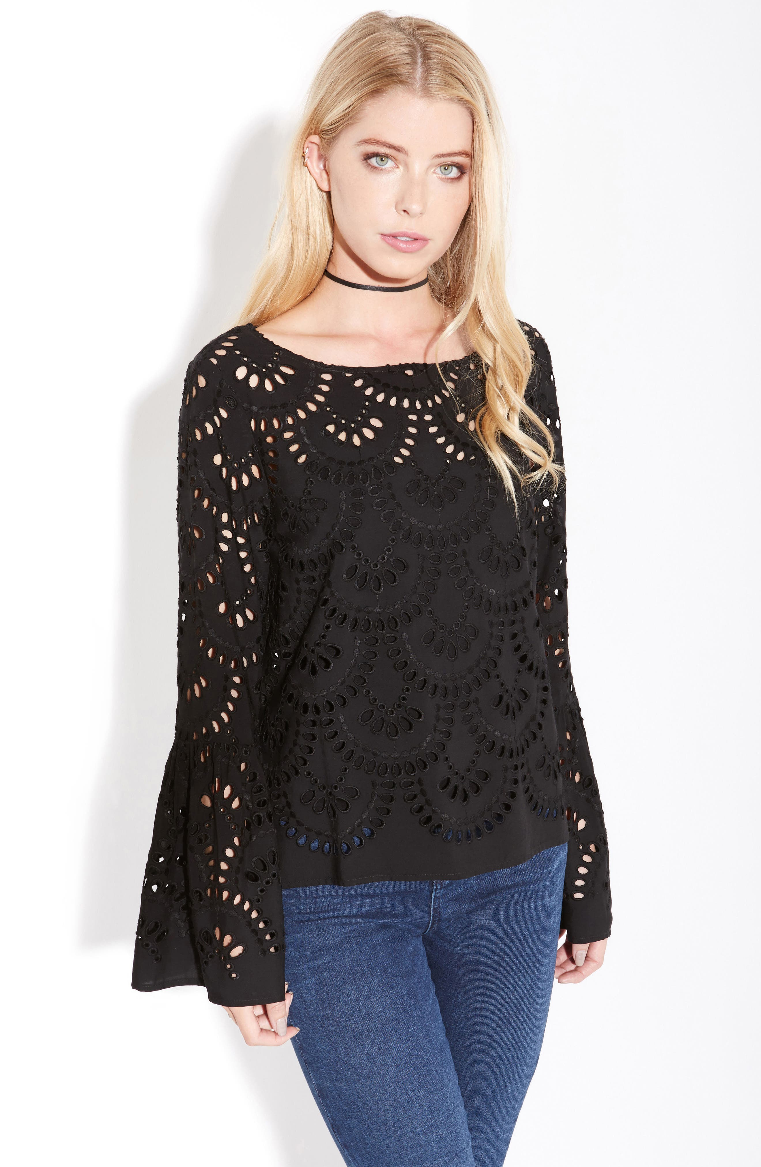 Eyelet Bell Sleeve Top,                             Alternate thumbnail 3, color,                             001