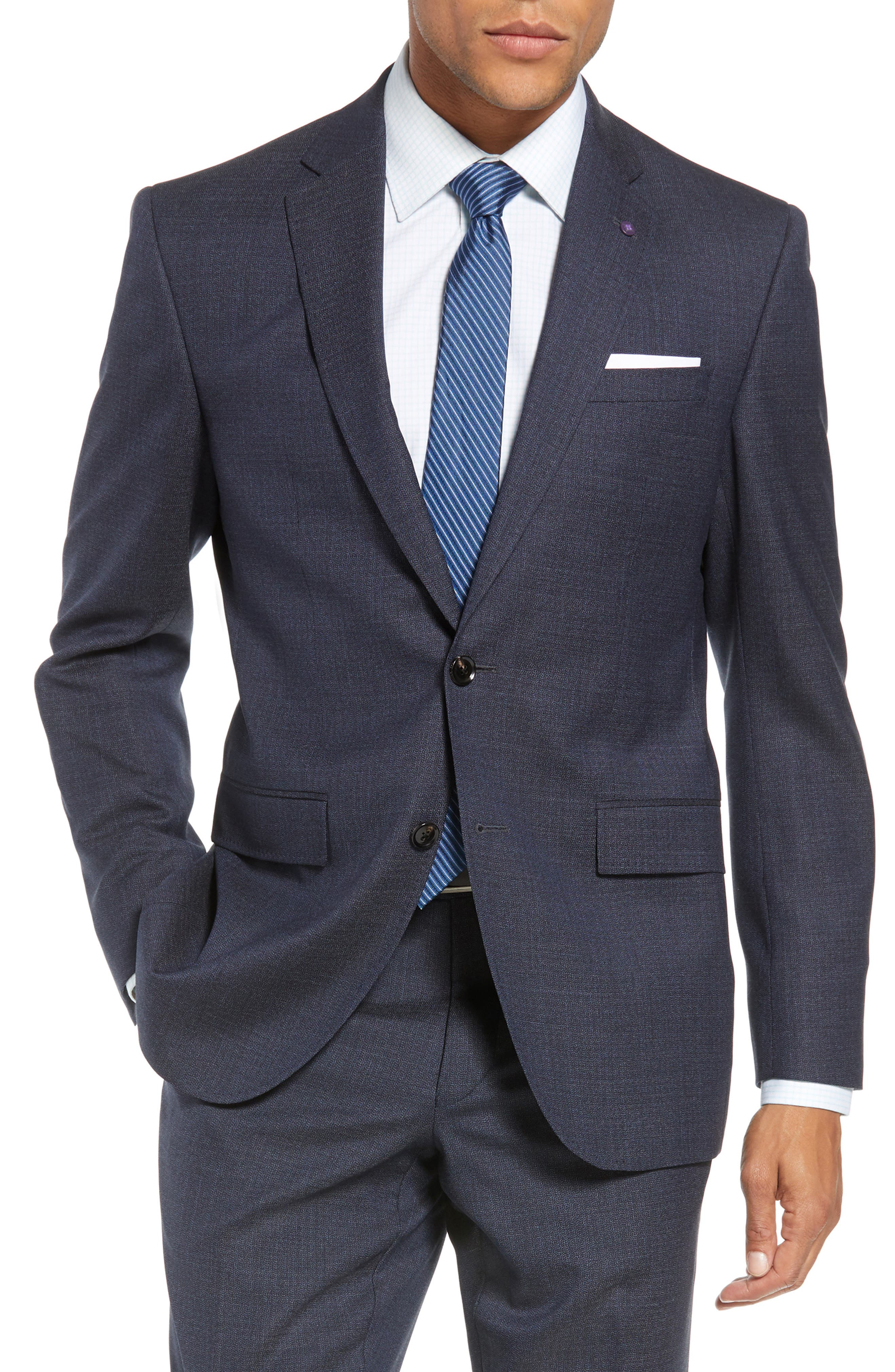 Jay Trim Fit Solid Wool Suit,                             Alternate thumbnail 5, color,                             020