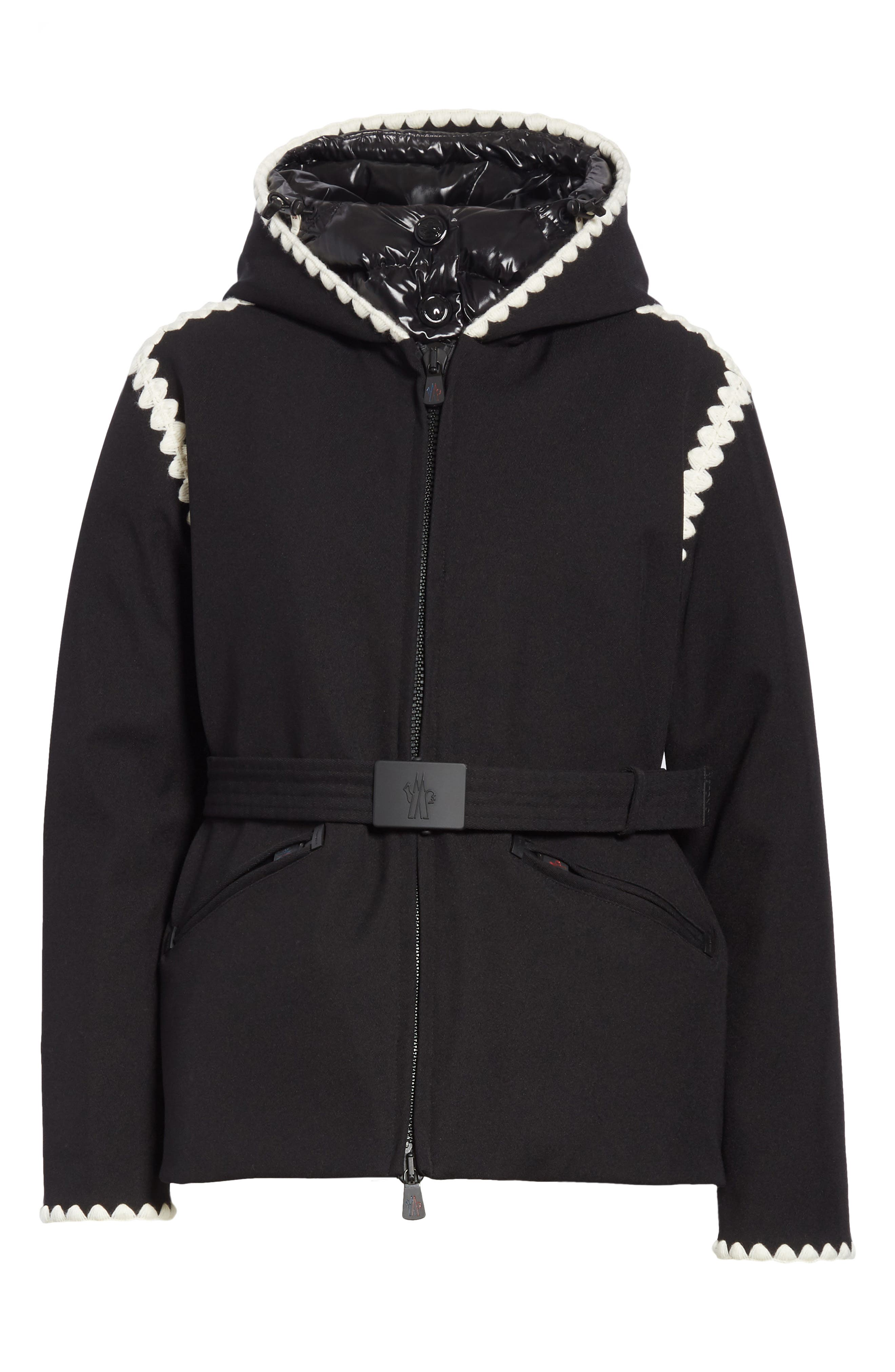 Bourget Embroidered Hooded Down Coat,                             Alternate thumbnail 5, color,                             BLACK