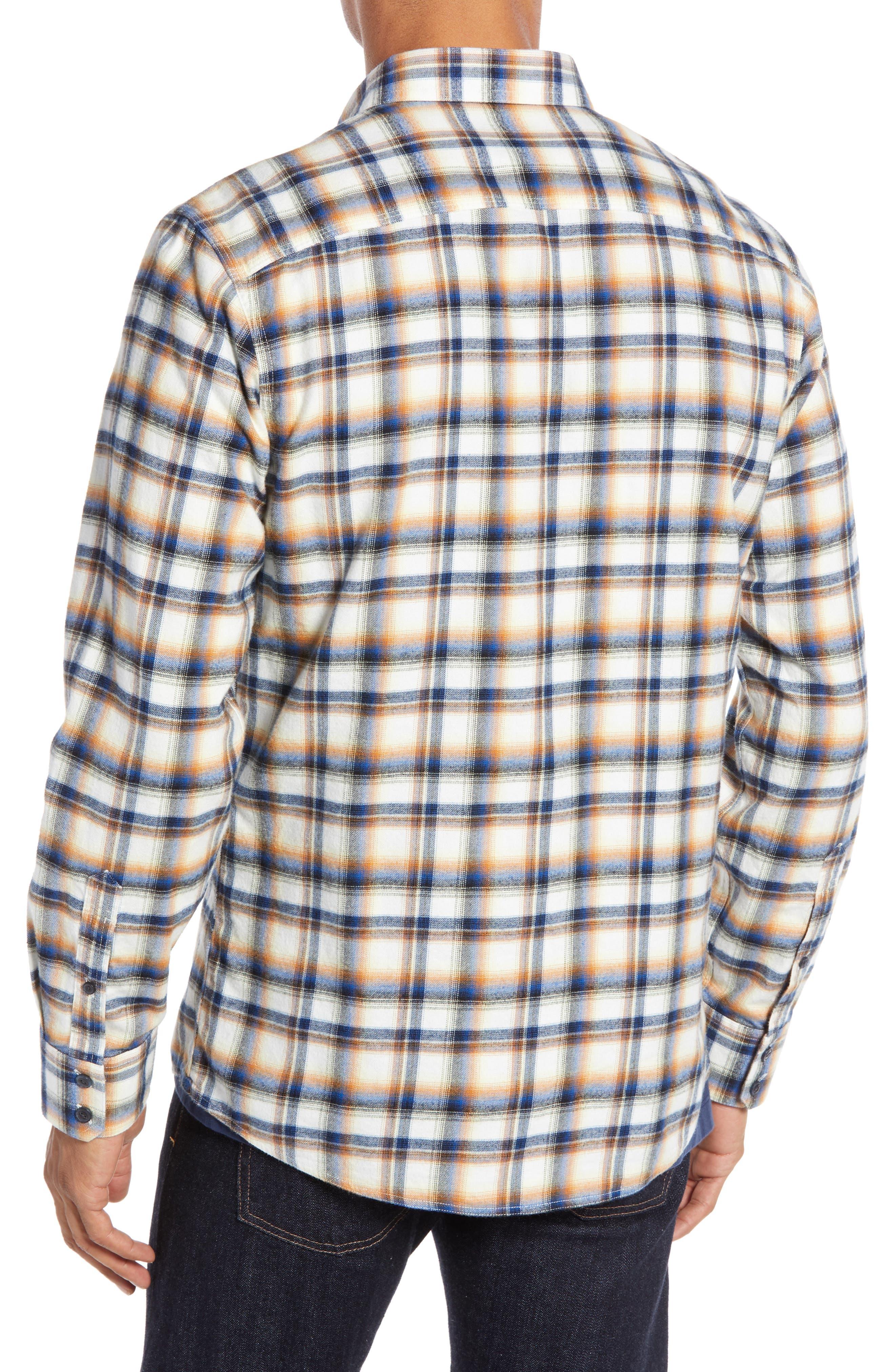 Trim Fit Trucker Plaid Sport Shirt,                             Alternate thumbnail 3, color,                             IVORY BLUE ORANGE PLAID