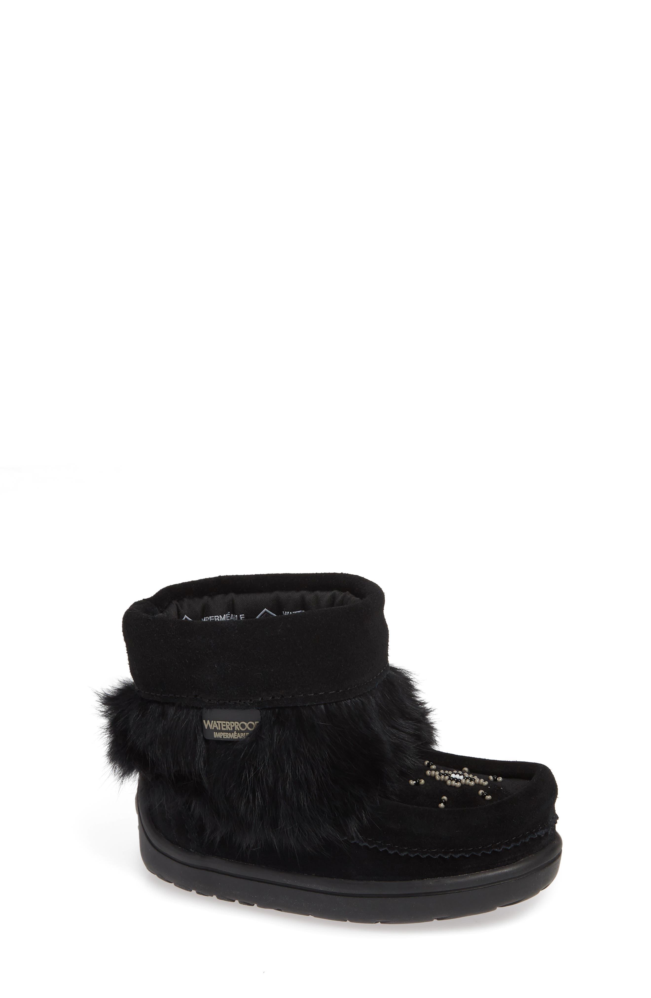 Snowy Owlet Genuine Fur Waterproof Boot,                             Main thumbnail 1, color,                             BLACK
