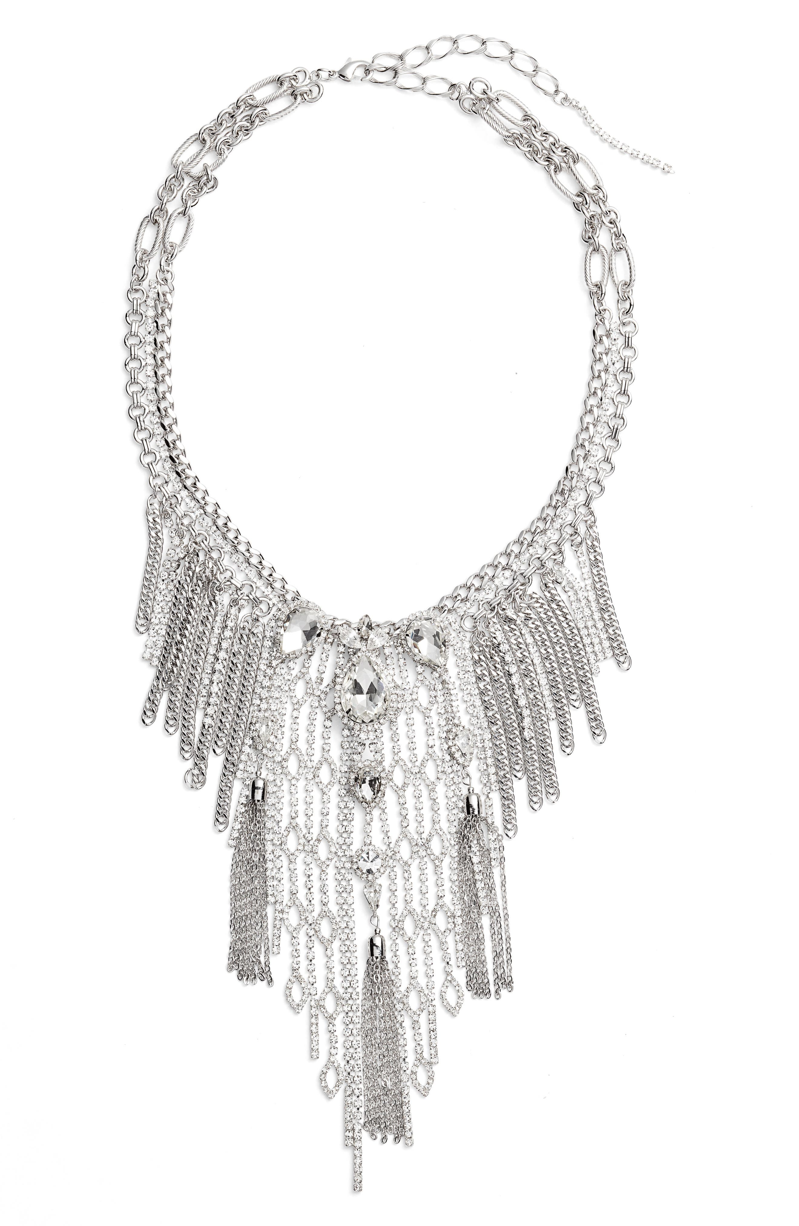 Chain Fringe Necklace,                         Main,                         color, SILVER