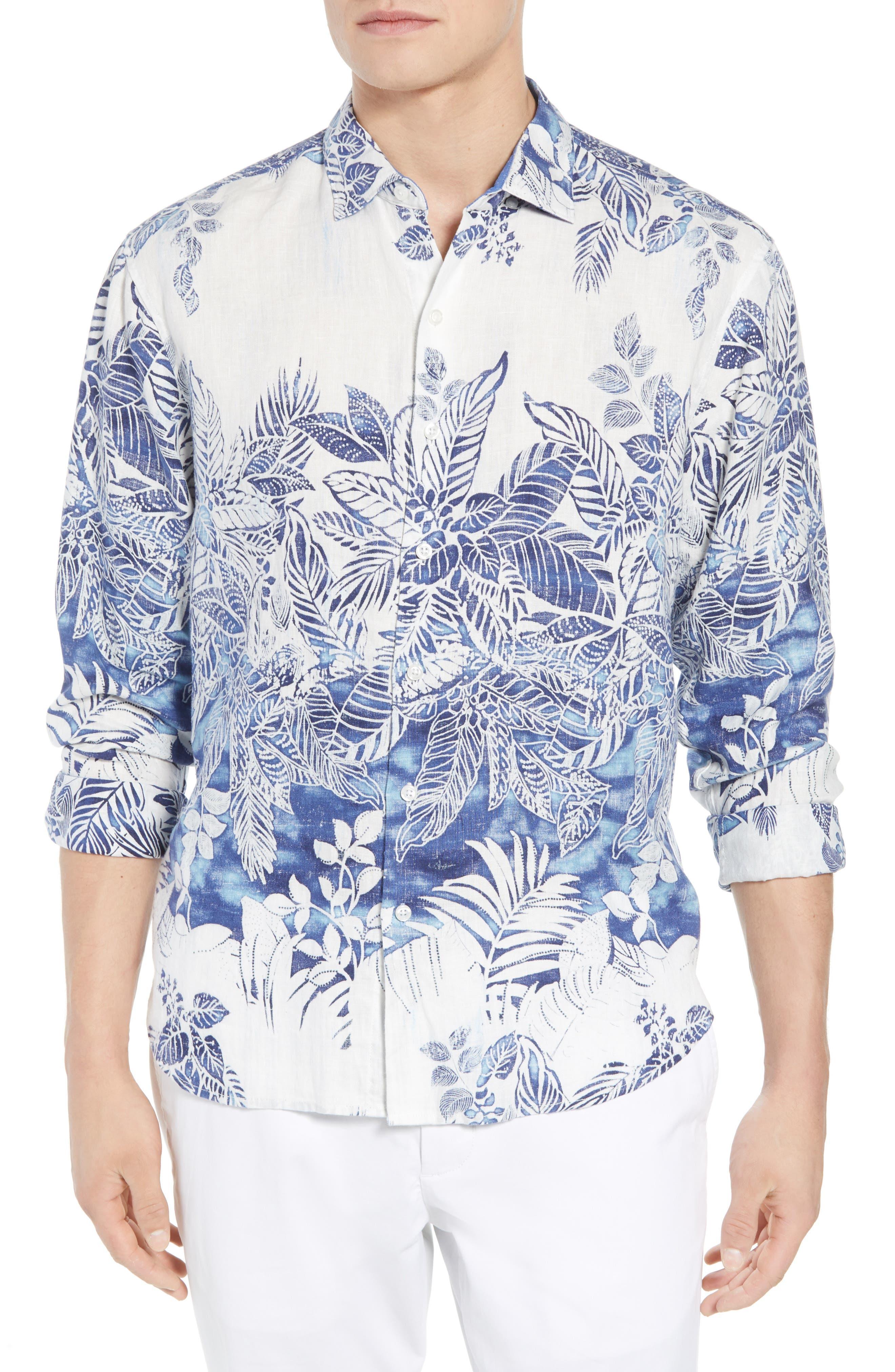 Mariachi Mirage Linen Sport Shirt,                             Main thumbnail 1, color,                             ECLIPSE
