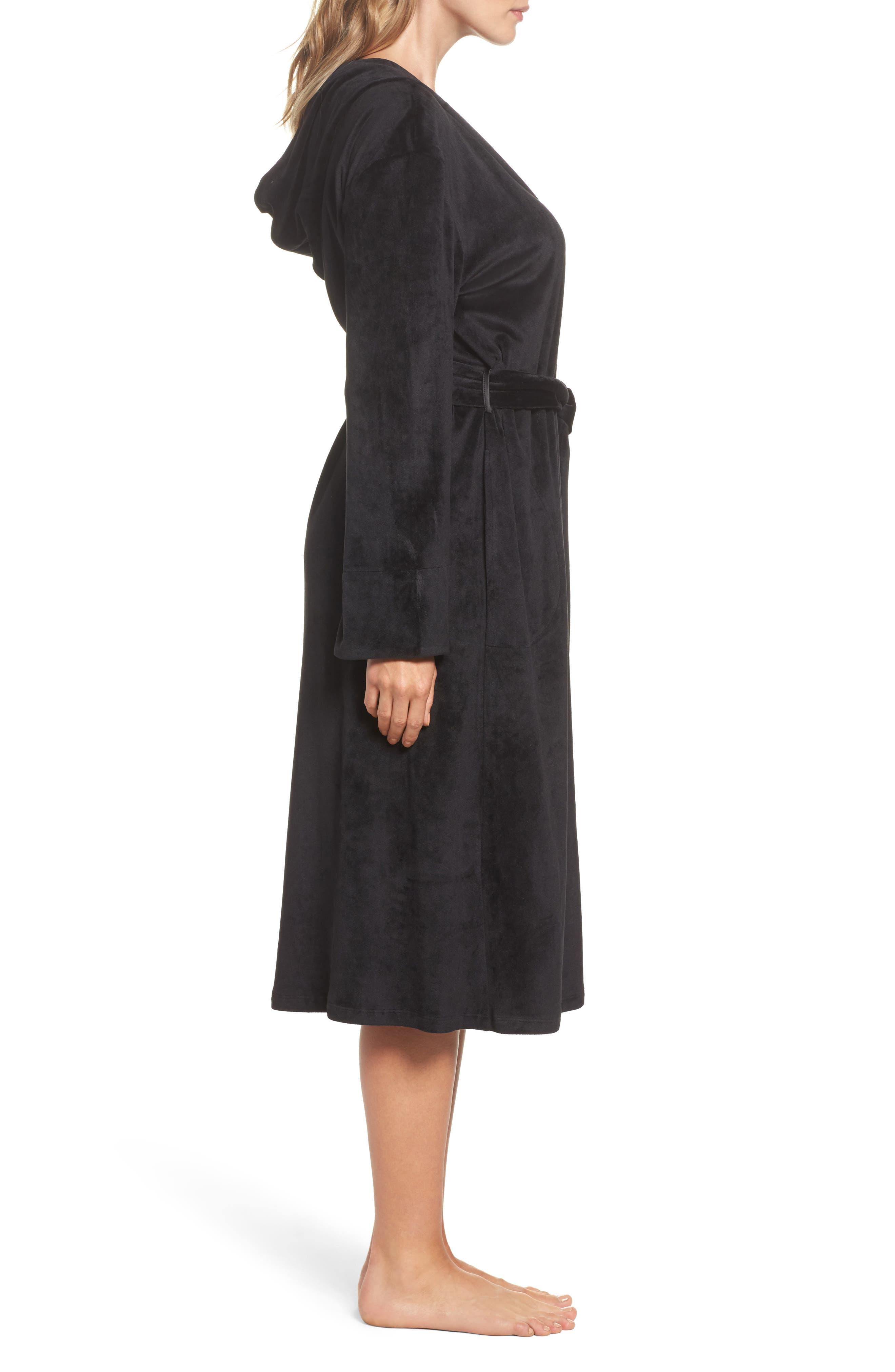 Luxury Plush Hooded Robe,                             Alternate thumbnail 3, color,                             001