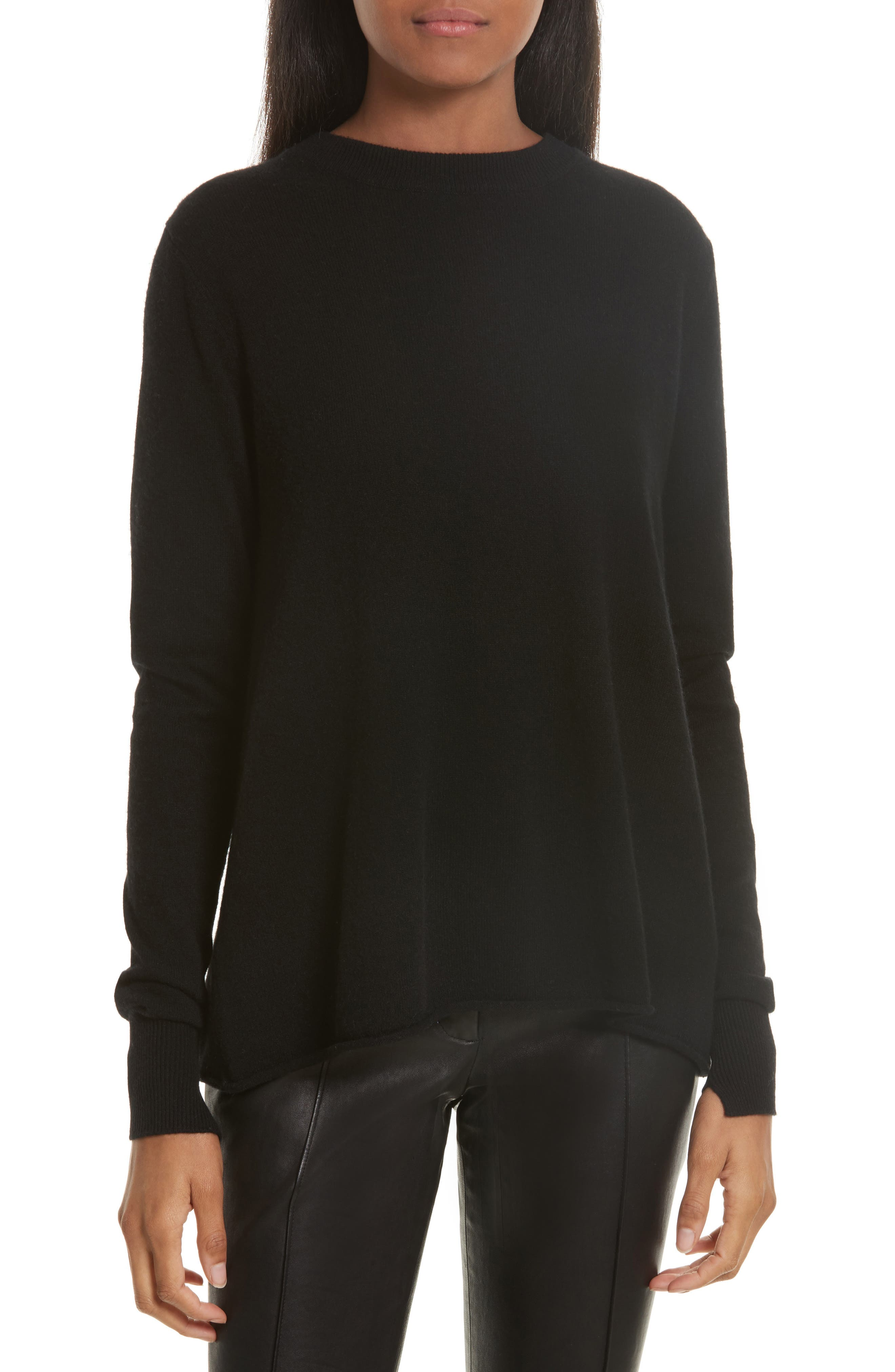 Valerie Lace-Up Wool & Cashmere Sweater,                         Main,                         color, 001