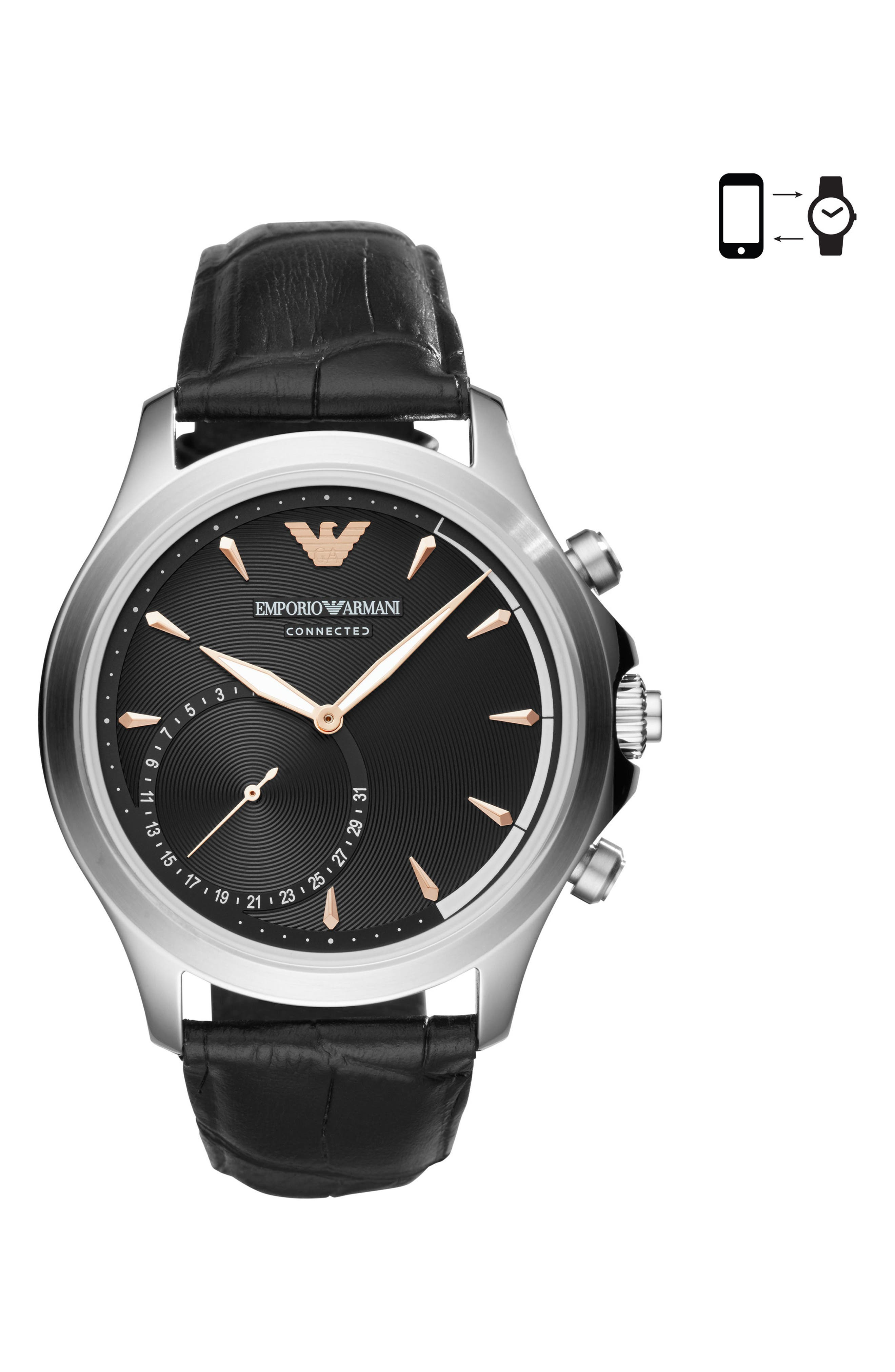 EMPORIO ARMANI,                             Leather Strap Hybrid Smartwatch, 43mm,                             Main thumbnail 1, color,                             001