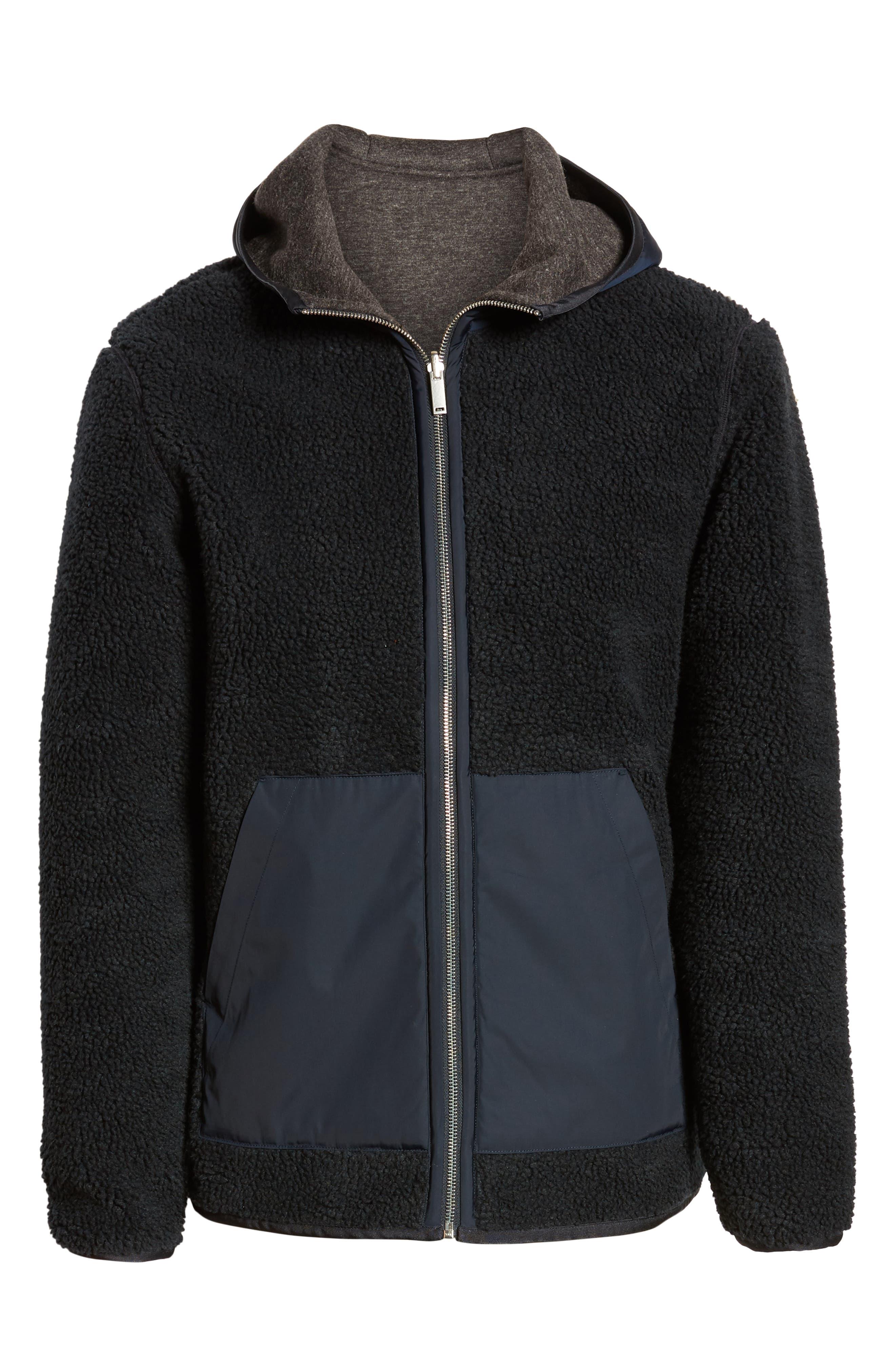 THEORY,                             Polar Fleece Reversible Zip Hoodie,                             Alternate thumbnail 8, color,                             ECLIPSE/ ASHPALT MELANGE
