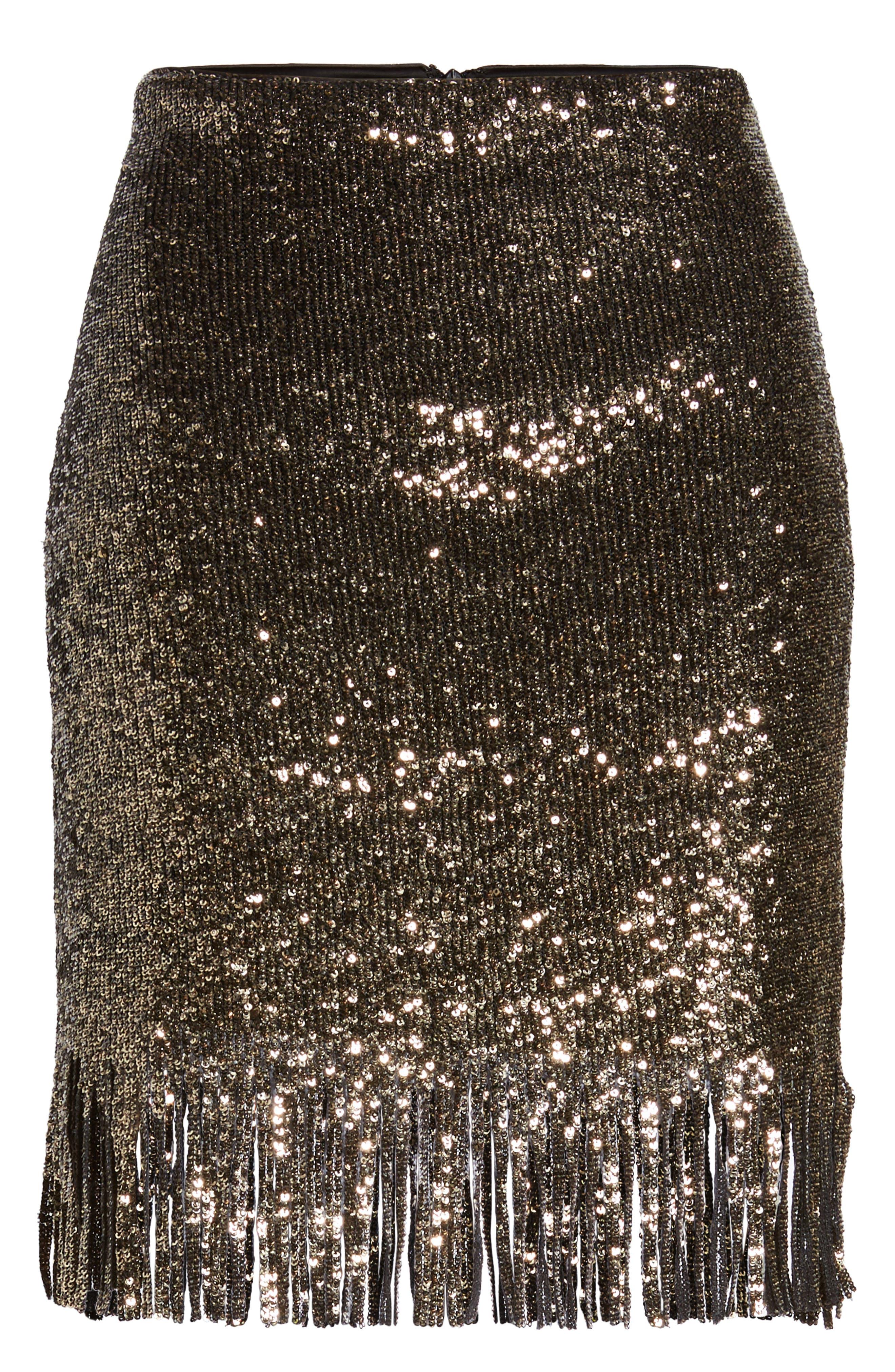 BARDOT,                             Sequin Fringe Skirt,                             Alternate thumbnail 6, color,                             710