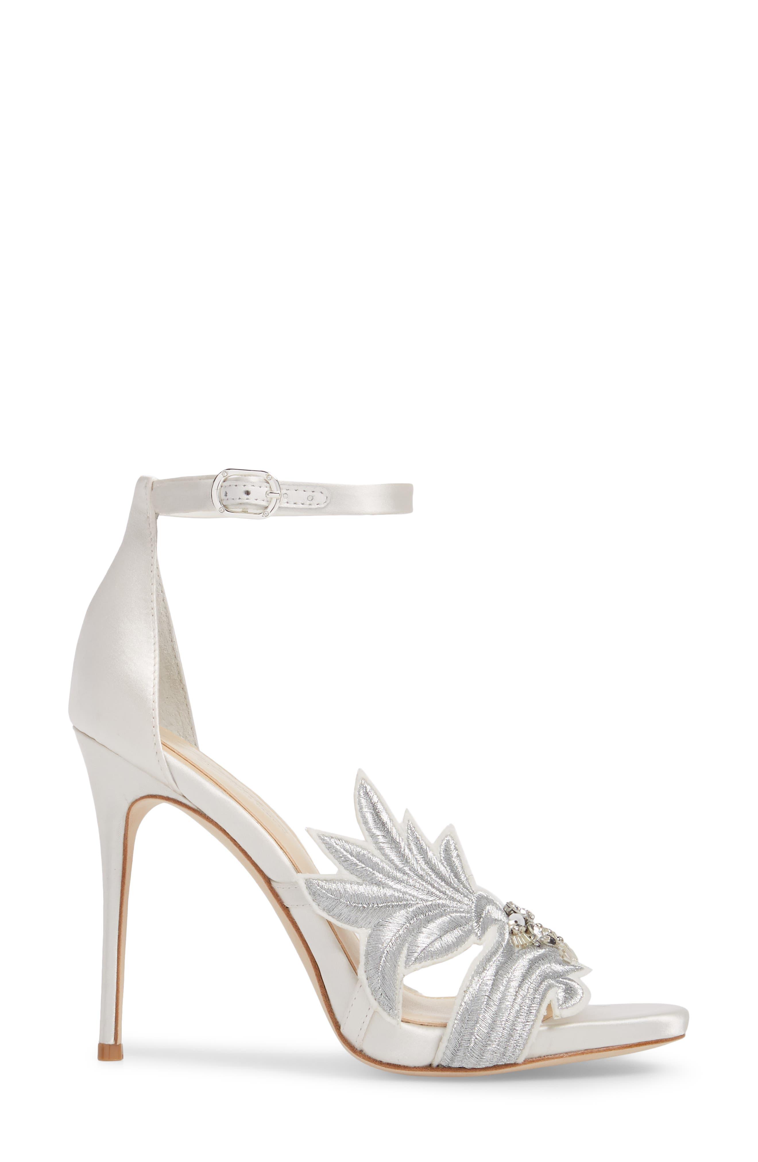 Imagine Vince Camuto Dayanara Embellished Sandal,                             Alternate thumbnail 3, color,                             PURE WHITE SATIN