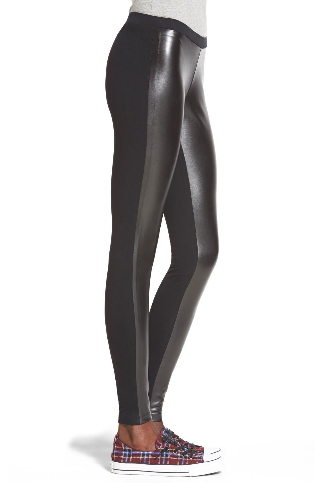 BP.,                             Two-Tone Faux Leather Leggings,                             Alternate thumbnail 2, color,                             001