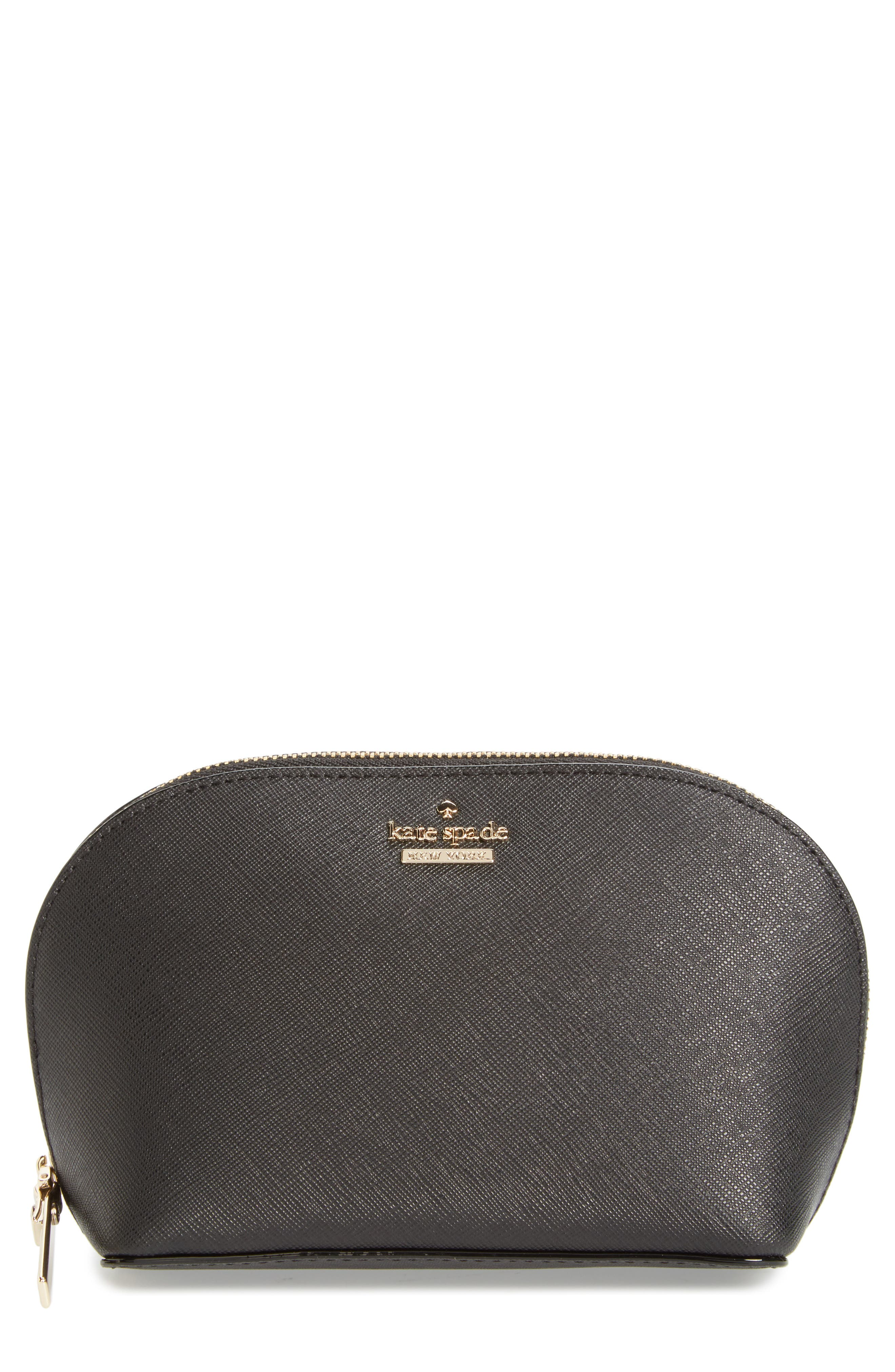 cameron street - small abalene leather cosmetics bag,                         Main,                         color, BLACK