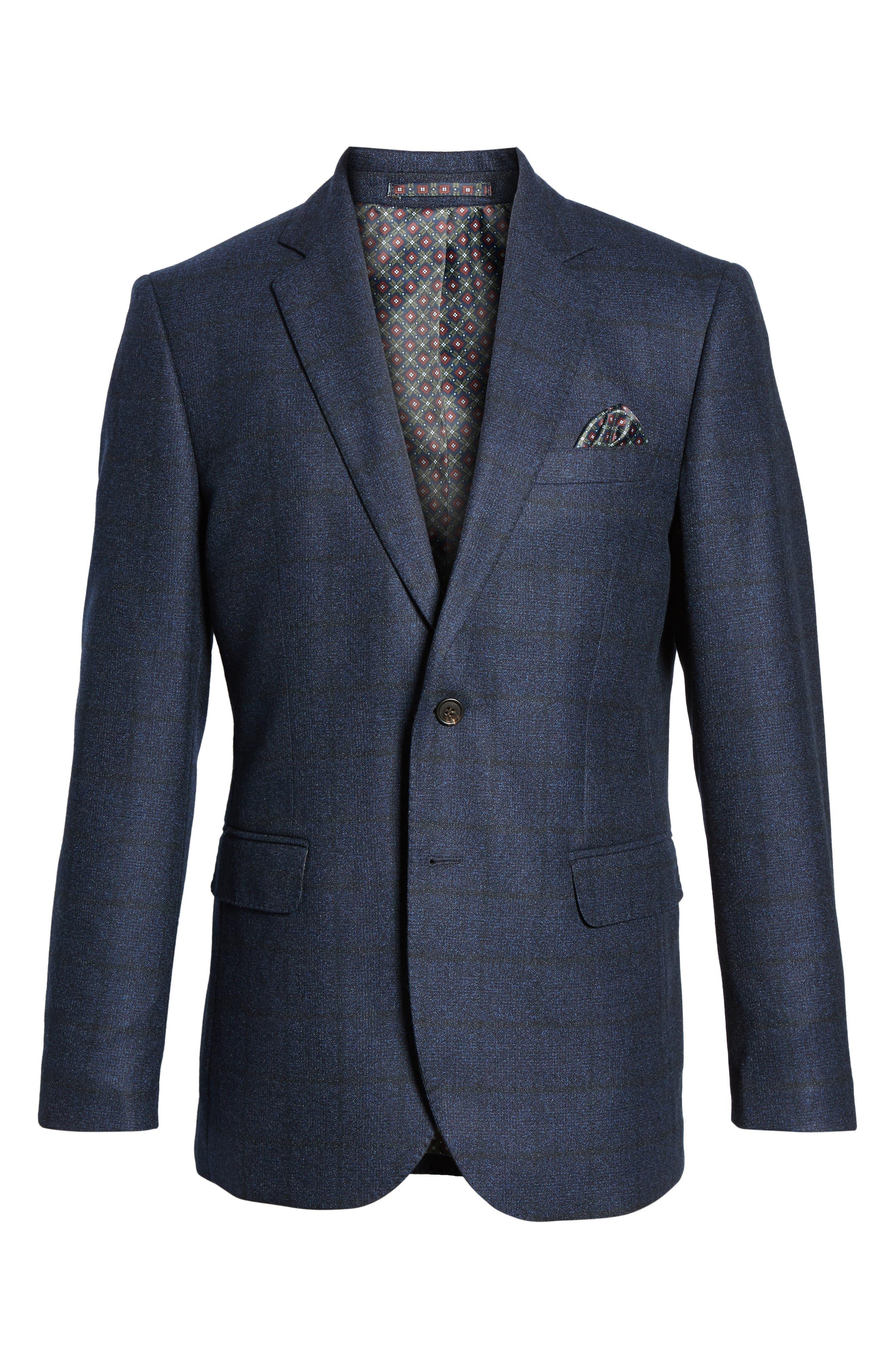 Andersen Trim Fit Plaid Wool Sport Coat,                             Alternate thumbnail 5, color,                             209