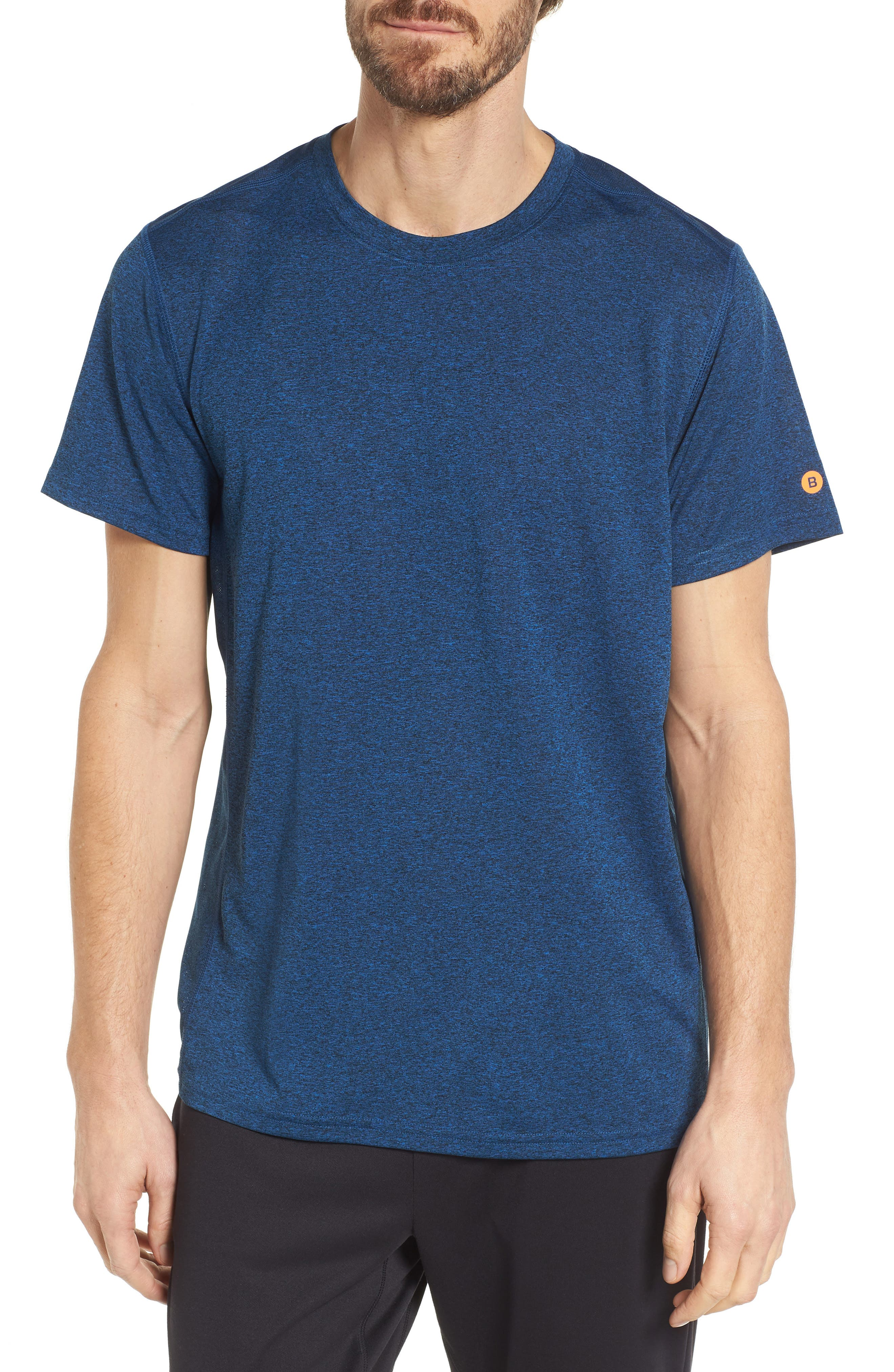 Goodsport Mesh Panel T-Shirt,                             Main thumbnail 1, color,                             LAPIS BLUE/ BLACK HEATHER