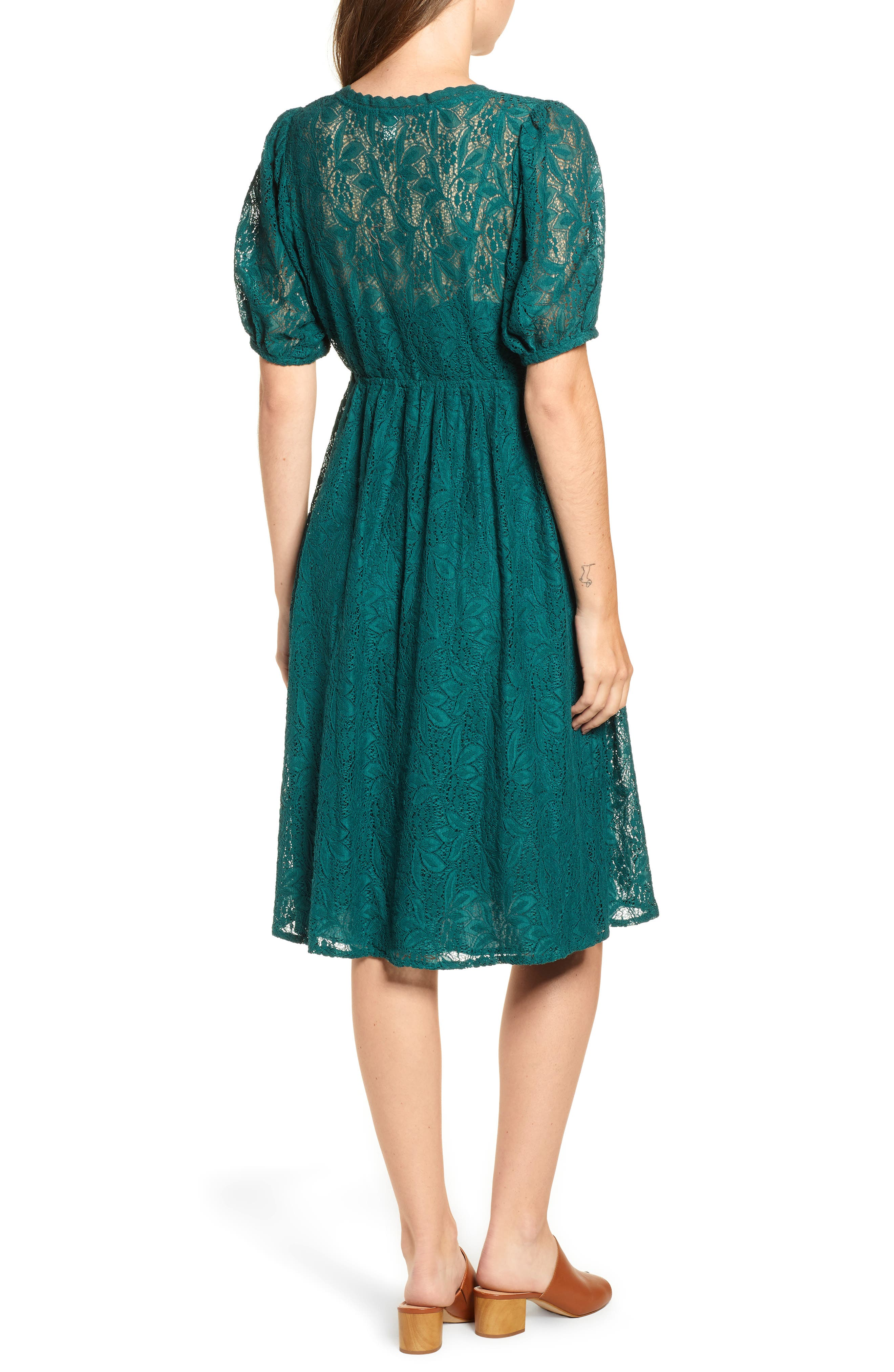 Puff Sleeve Lace Dress,                             Alternate thumbnail 2, color,                             301