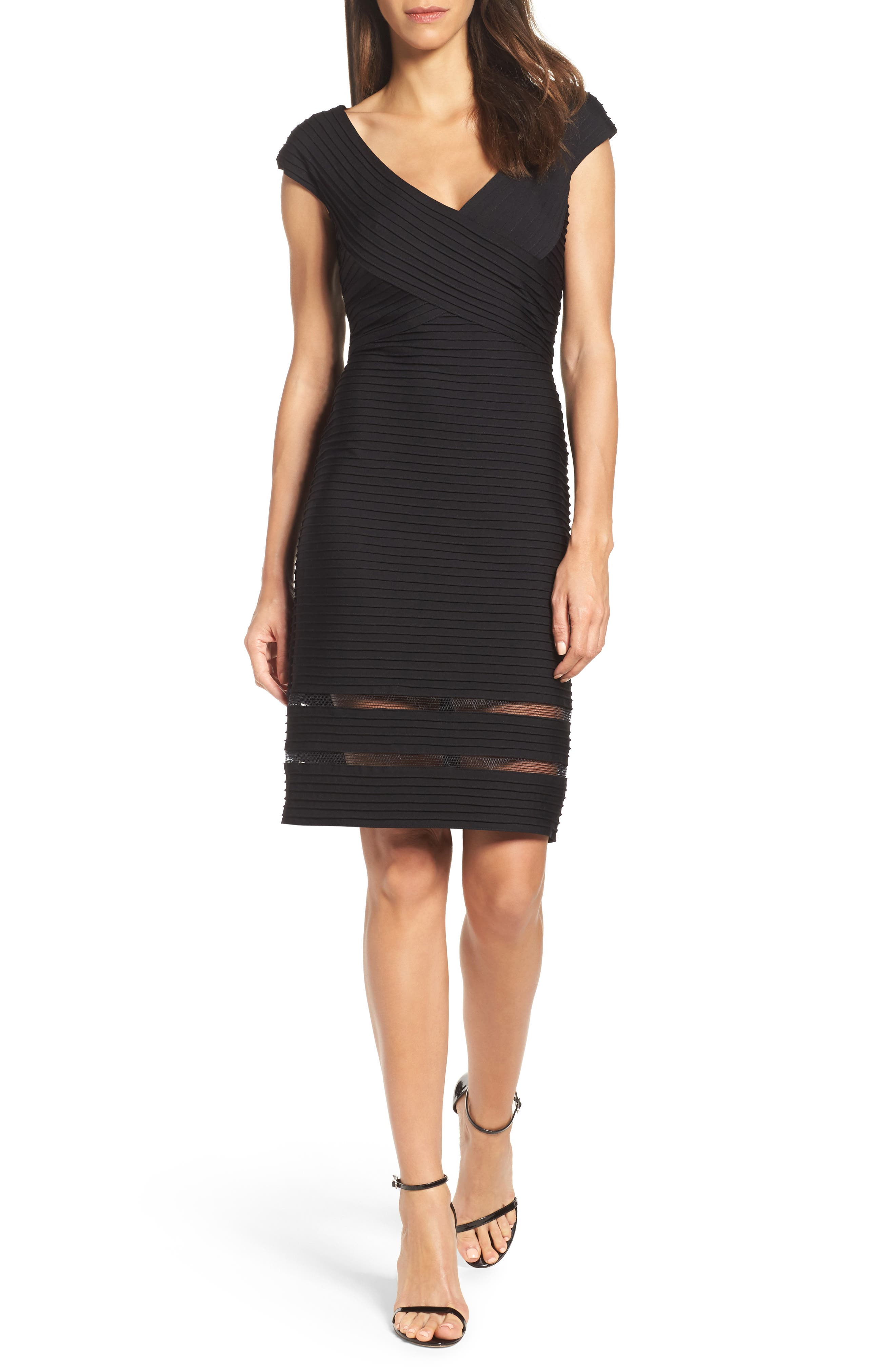 Mixed Media Sheath Dress,                         Main,                         color, 001