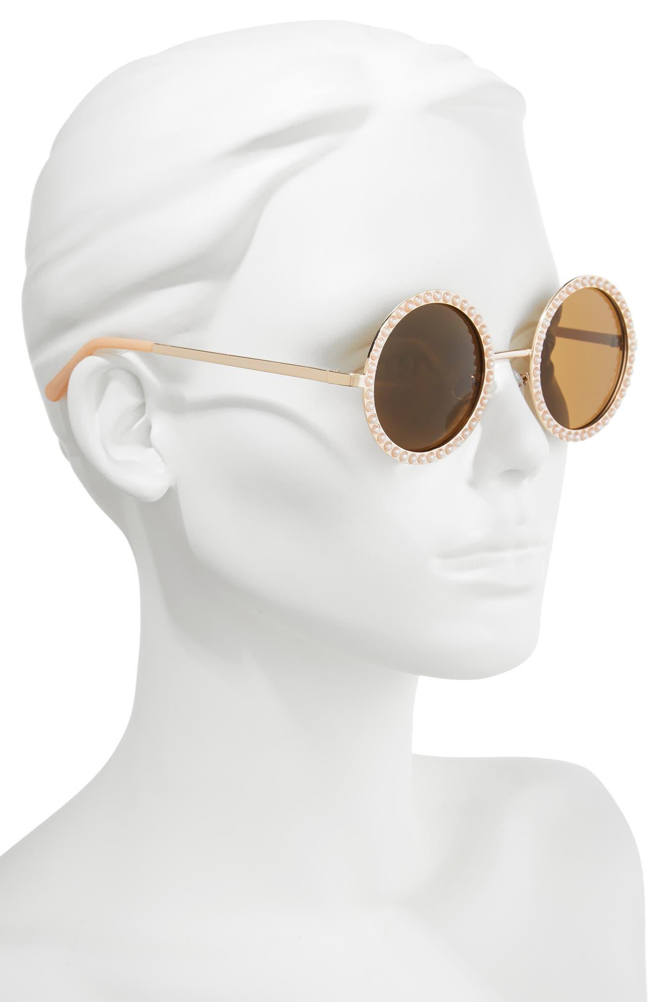 55mm Imitation Pearl Round Sunglasses,                             Alternate thumbnail 2, color,                             710