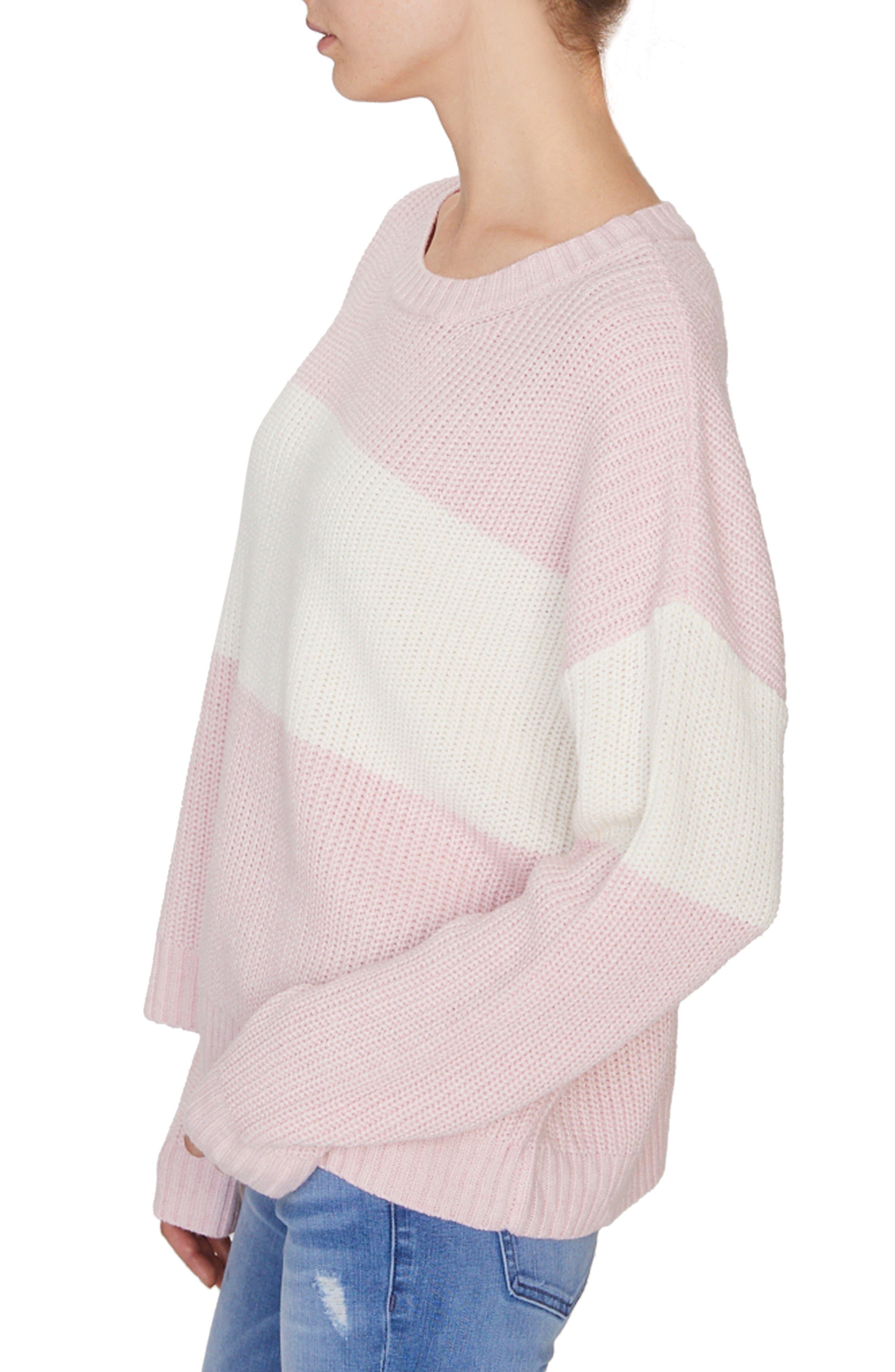 SANCTUARY,                             Billie Colorblock Shaker Sweater,                             Alternate thumbnail 3, color,                             HEATHER CHERRYBLOSSOM/ NATURAL