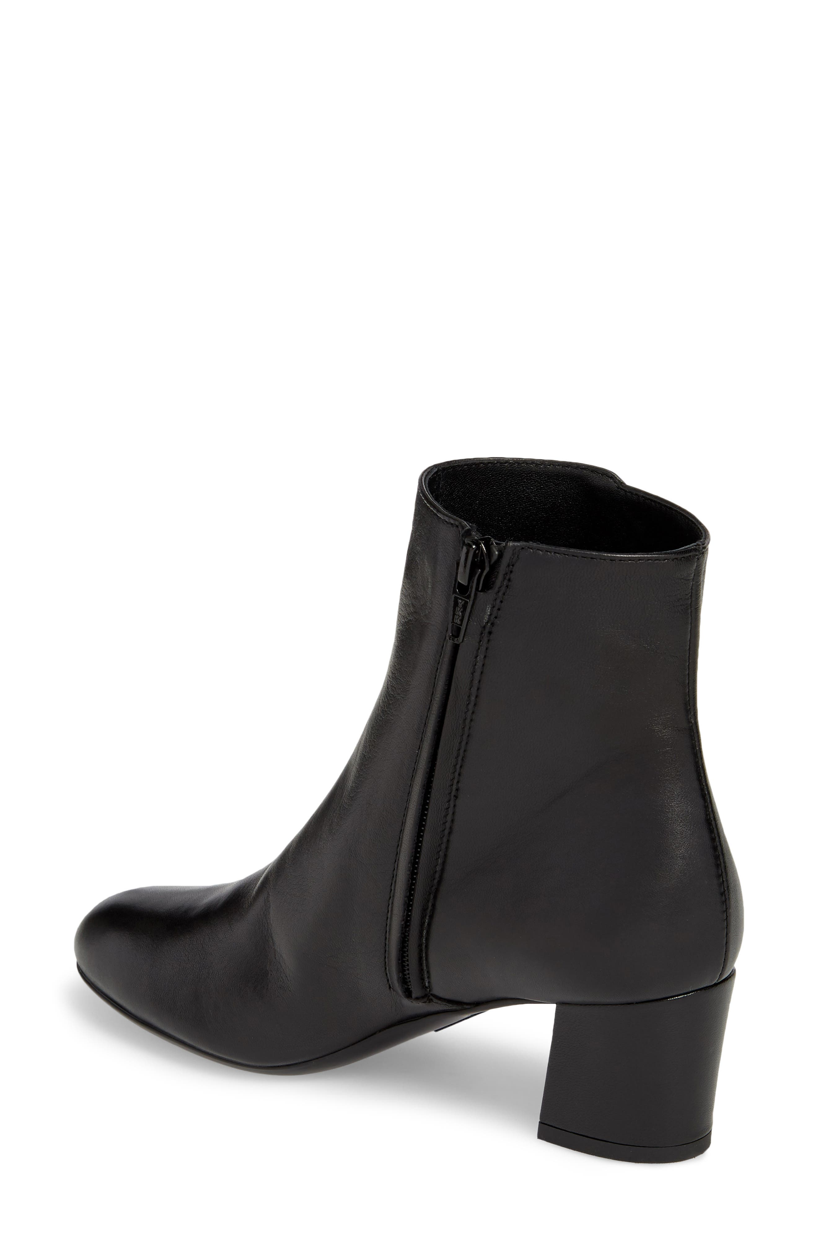 Block Heel Bootie,                             Alternate thumbnail 2, color,                             BLACK LEATHER