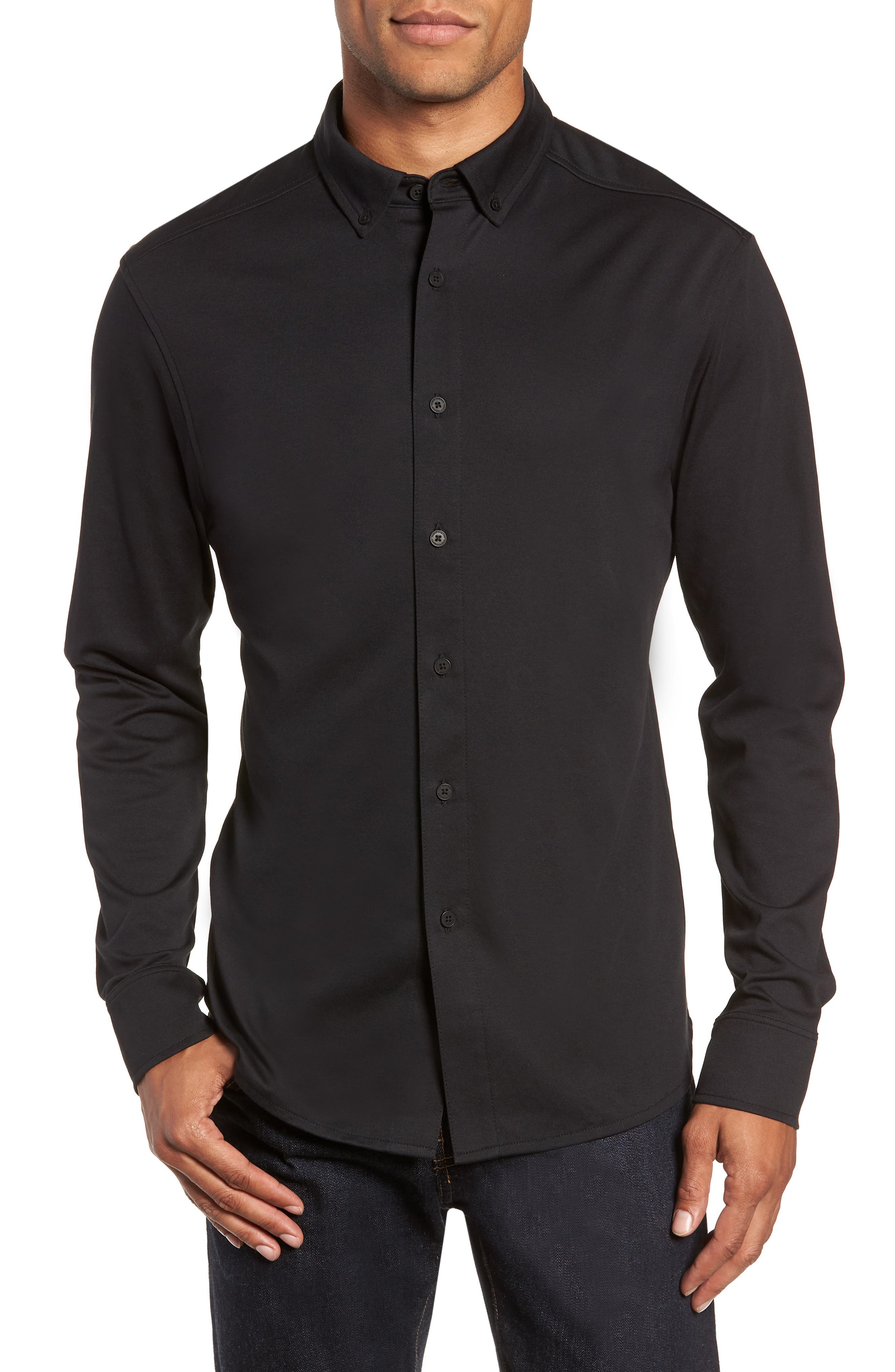 Slim Fit Button Down Collar Sport Shirt,                             Main thumbnail 1, color,                             BLACK
