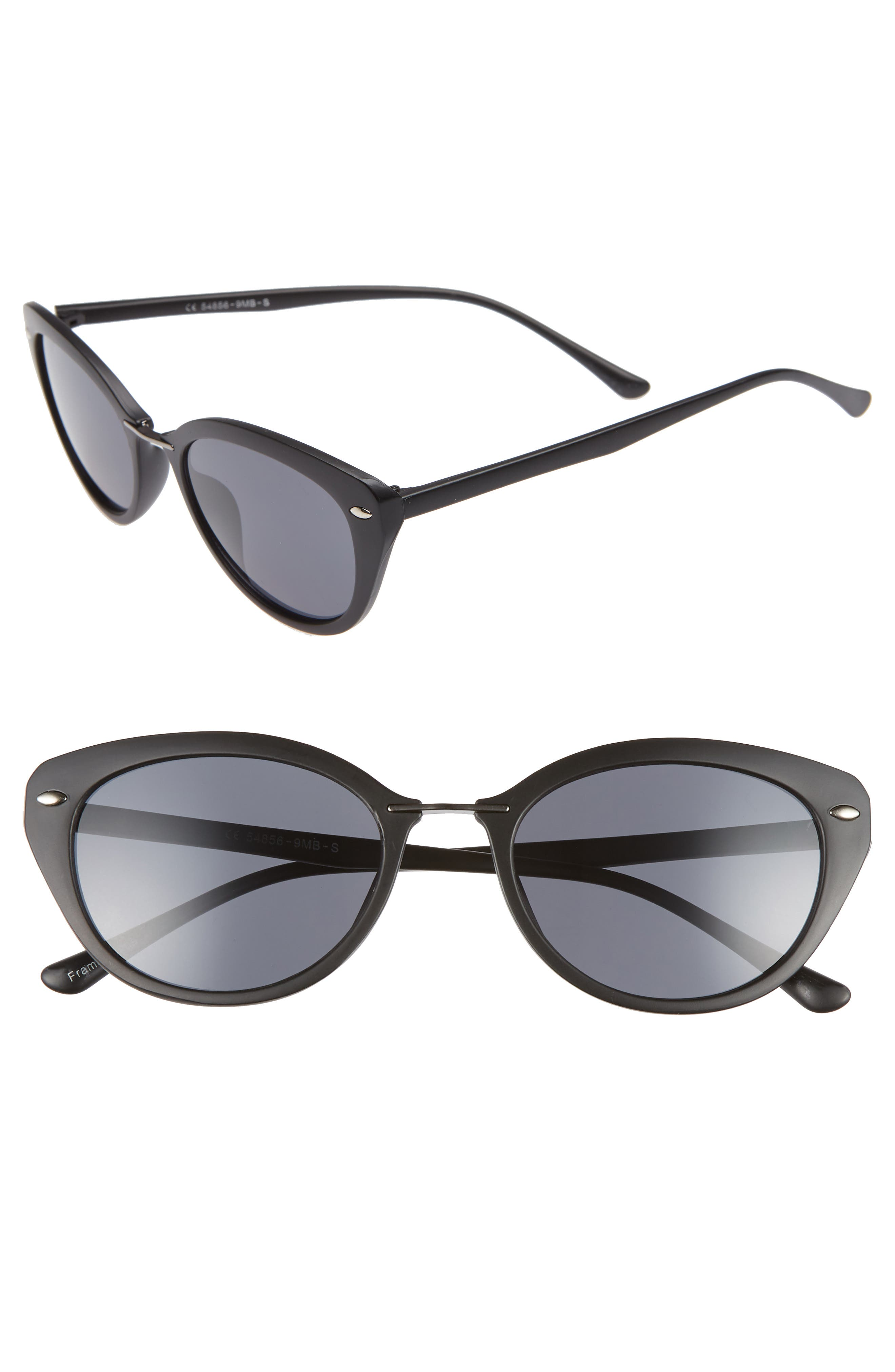 51mm Oval Sunglasses,                         Main,                         color, BLACK