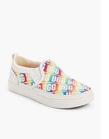 UGG sneaker in rainbow colors.