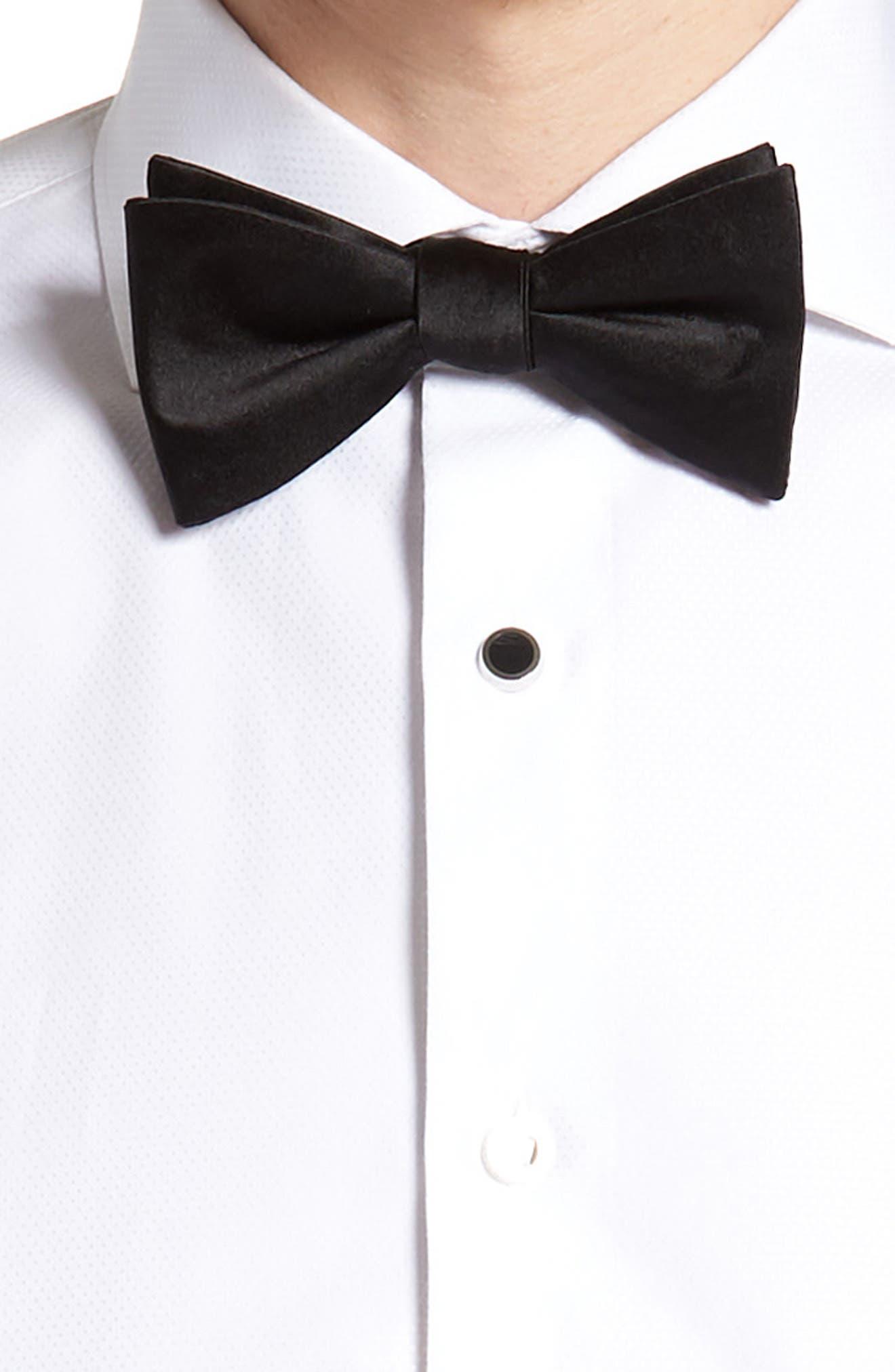Silk Cummerbund & Pre-Tied Bow Tie Set,                             Alternate thumbnail 2, color,                             BLACK