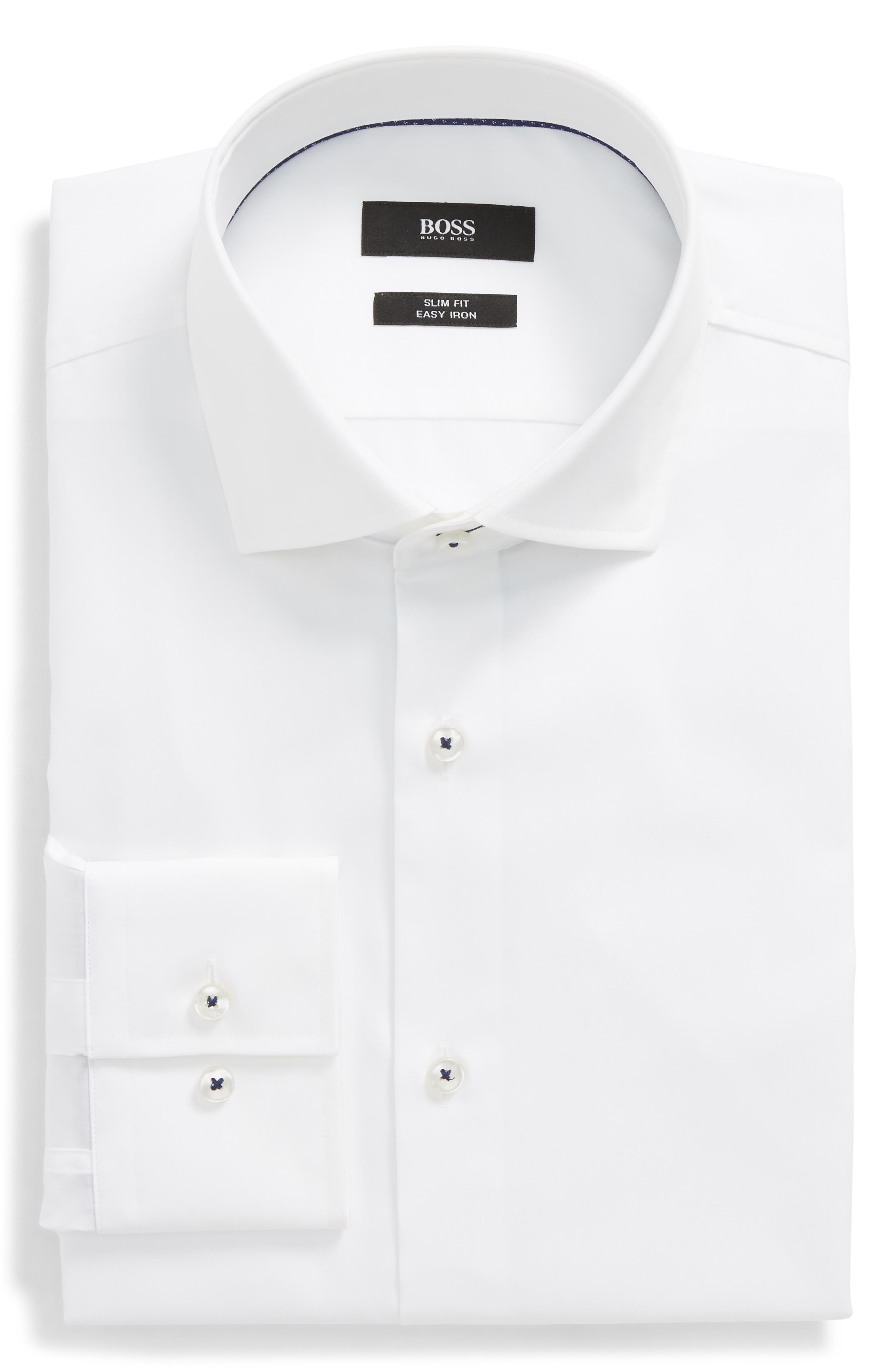 Jim Slim Fit Easy Iron Solid Dress Shirt,                             Main thumbnail 1, color,                             100