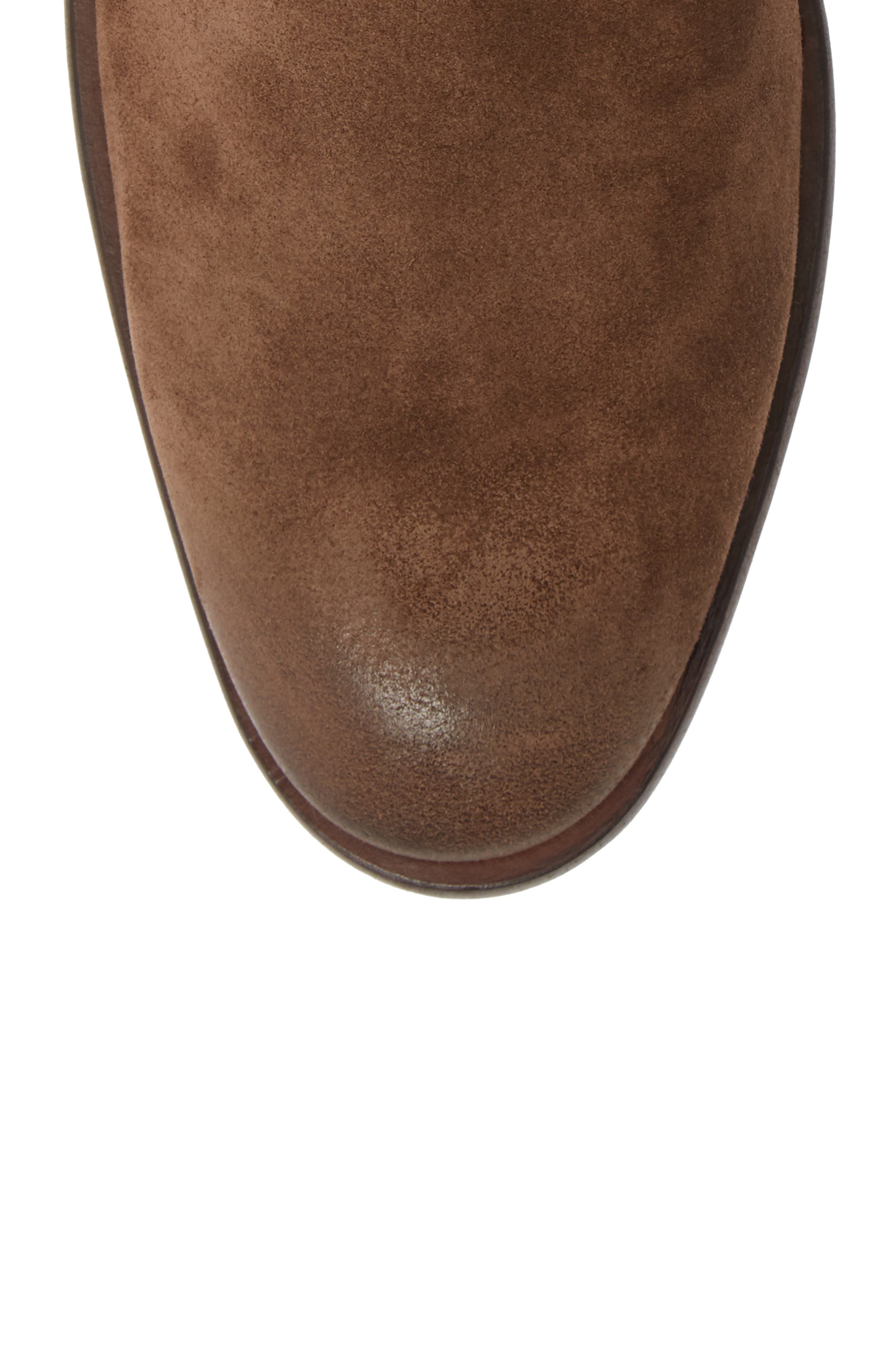 John Varvatos NYC Double Buckle Tall Boot,                             Alternate thumbnail 5, color,                             ANTIQUE BROWN SUEDE