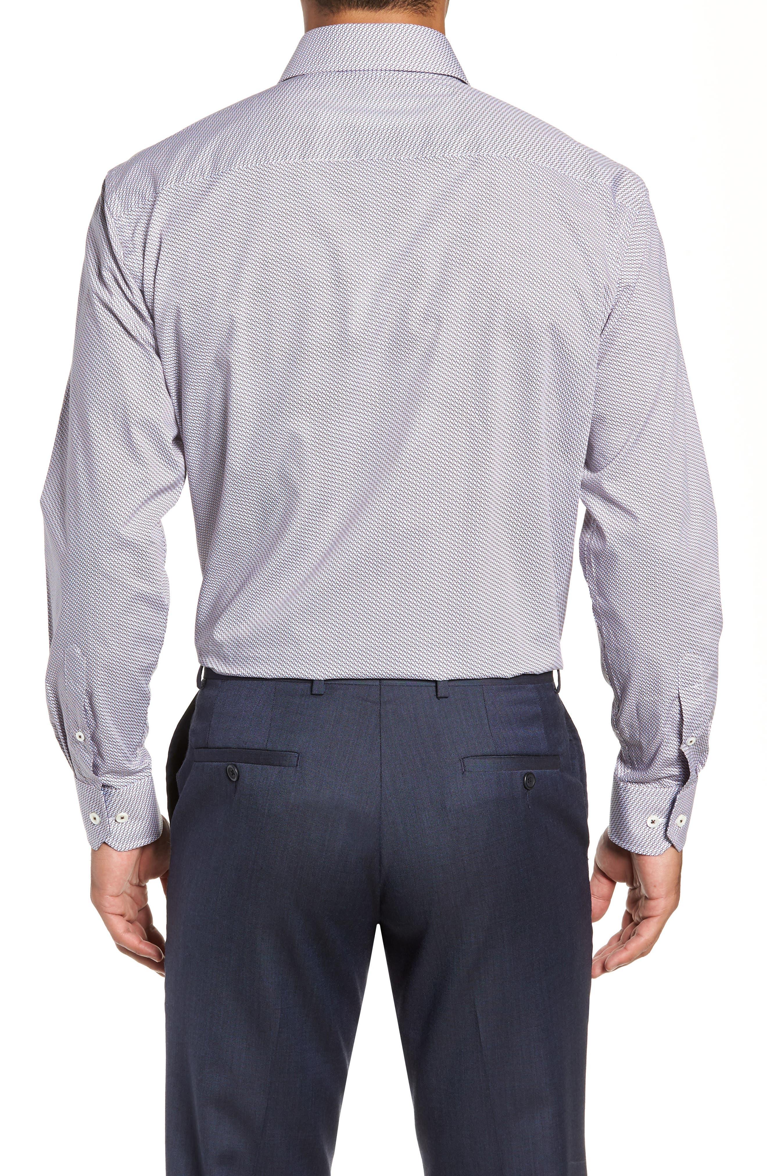 Trim Fit Print Dress Shirt,                             Alternate thumbnail 3, color,                             BISCOTTI