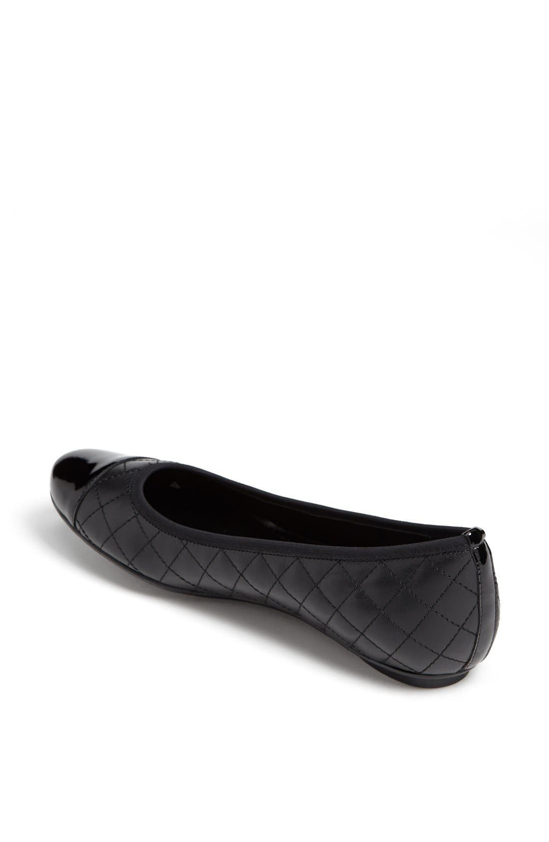 'Serene' Flat,                             Alternate thumbnail 4, color,                             BLACK NAPPA/ BLACK PATENT