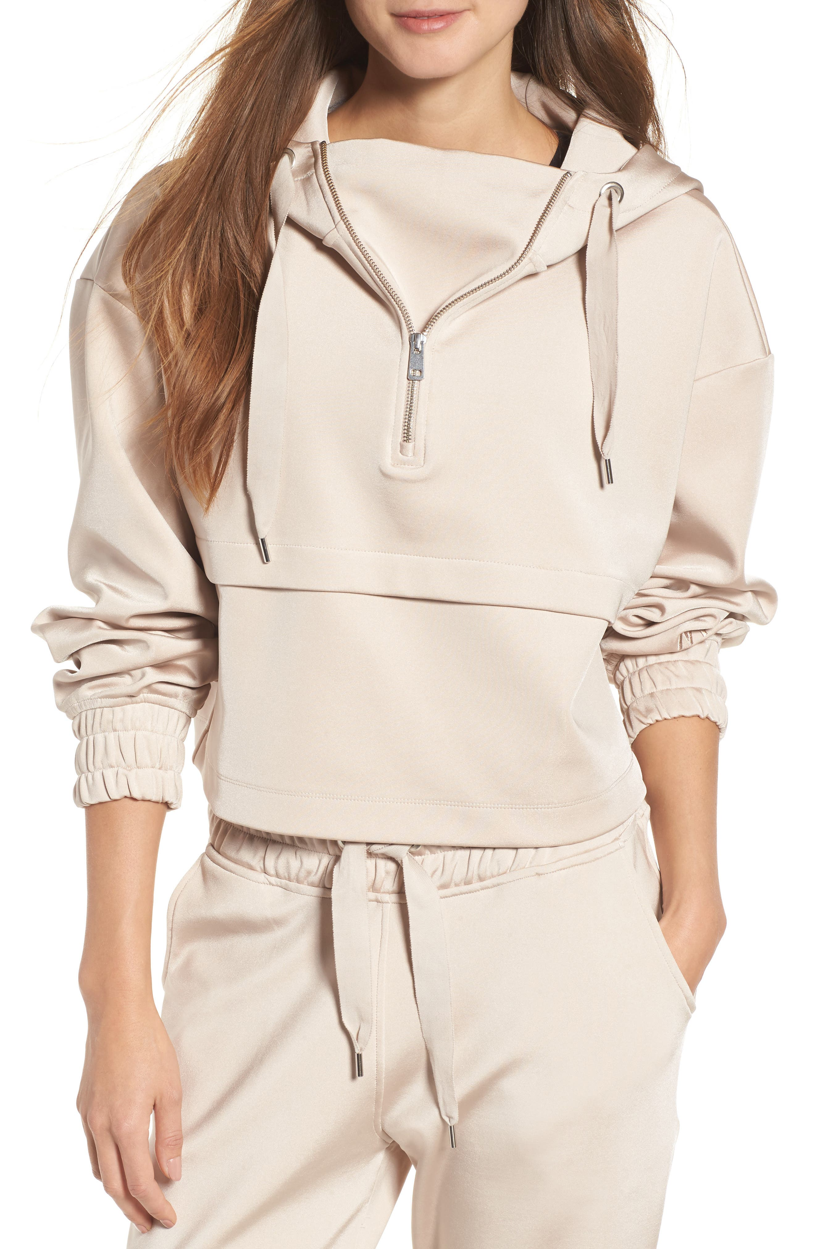 Satin Crop Hoodie,                             Main thumbnail 1, color,