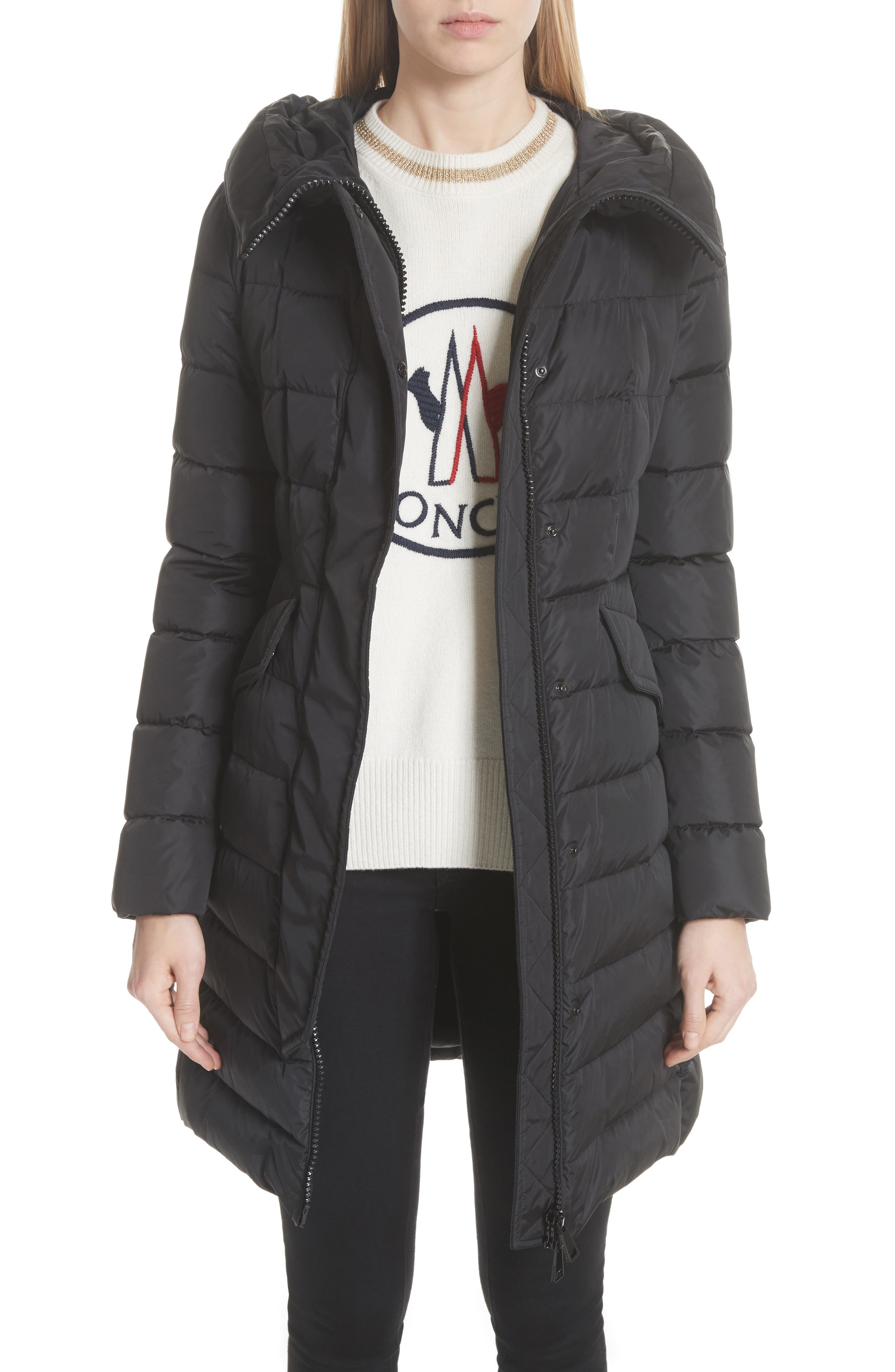 MONCLER,                             Grive Hooded Down Coat,                             Main thumbnail 1, color,                             NAVY
