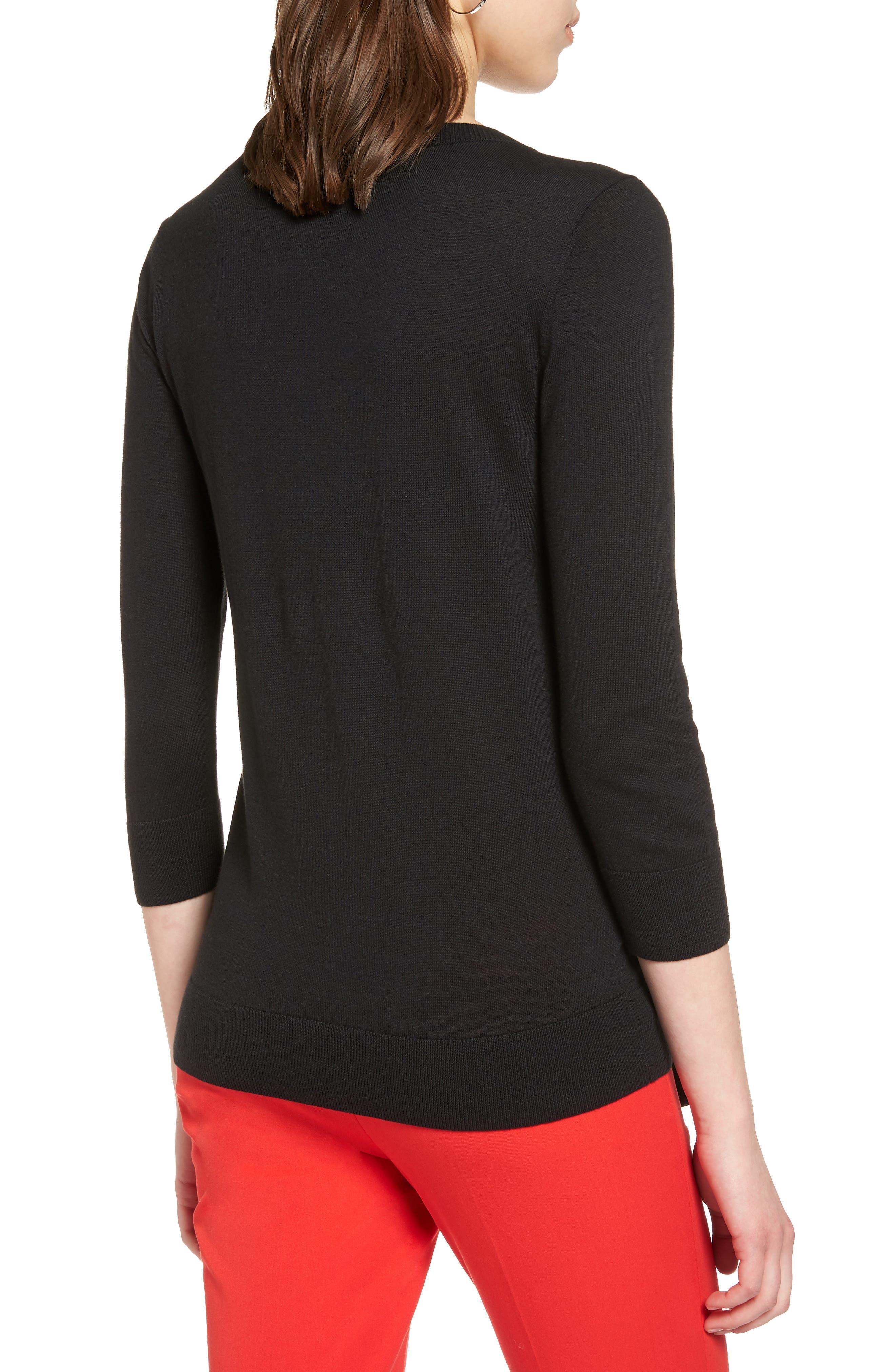 Pima Cotton Blend Tie Sweater,                             Alternate thumbnail 2, color,                             001