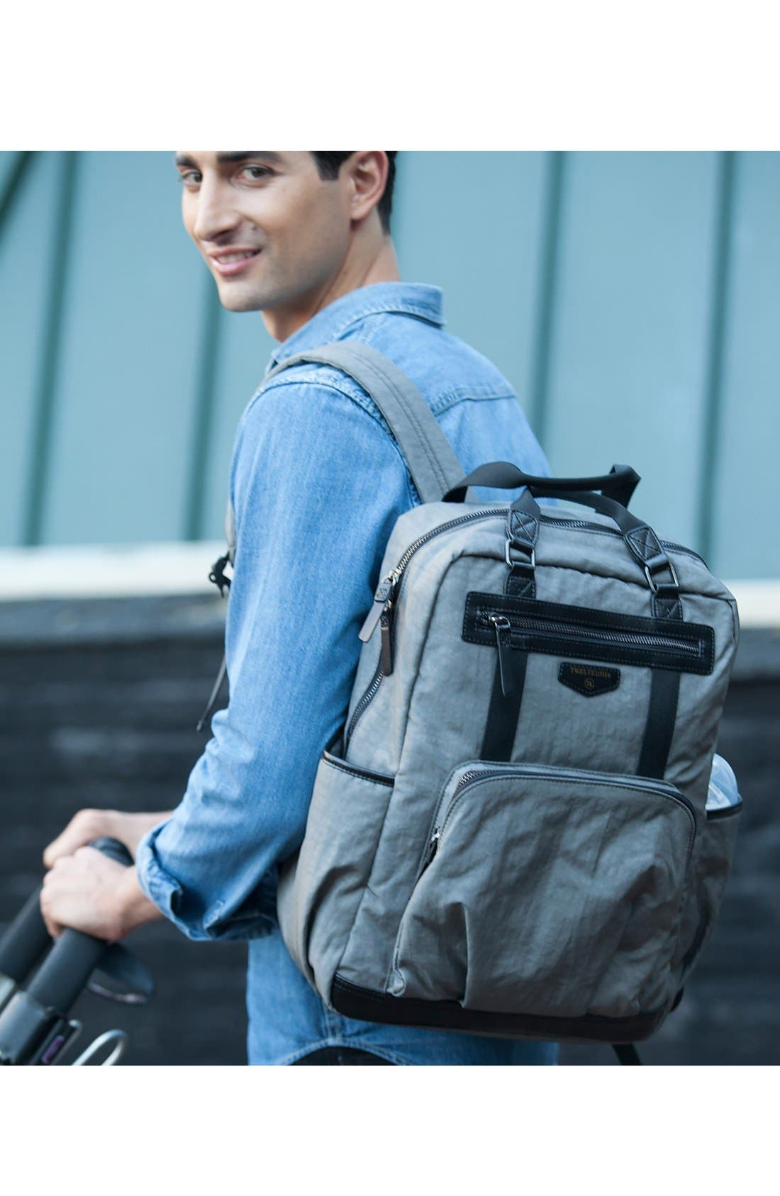 'Courage' Unisex Backpack Diaper Bag,                             Alternate thumbnail 6, color,                             DARK GREY