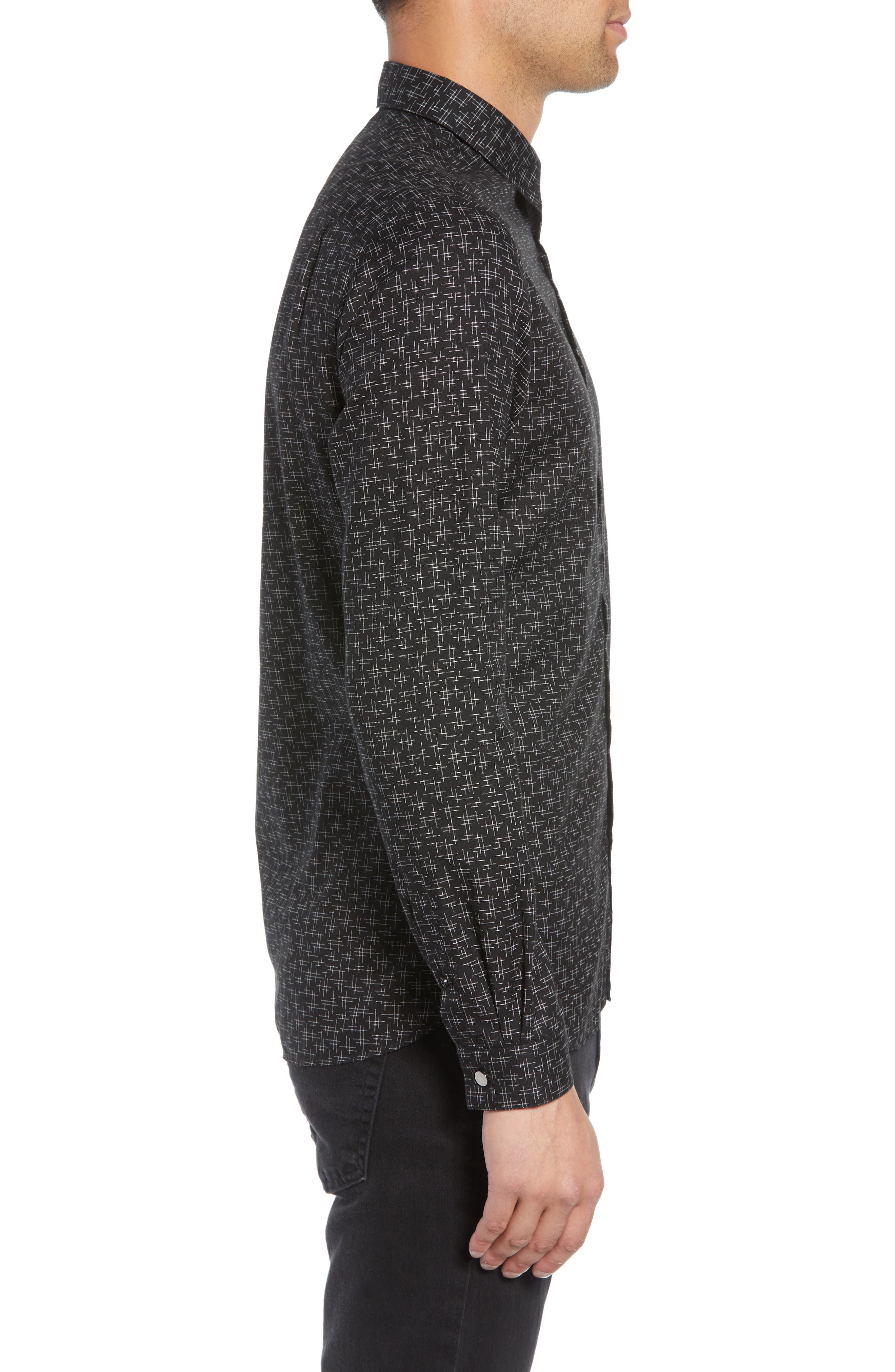 Slim Fit Print Shirt,                             Alternate thumbnail 4, color,                             BLACK/ GREY