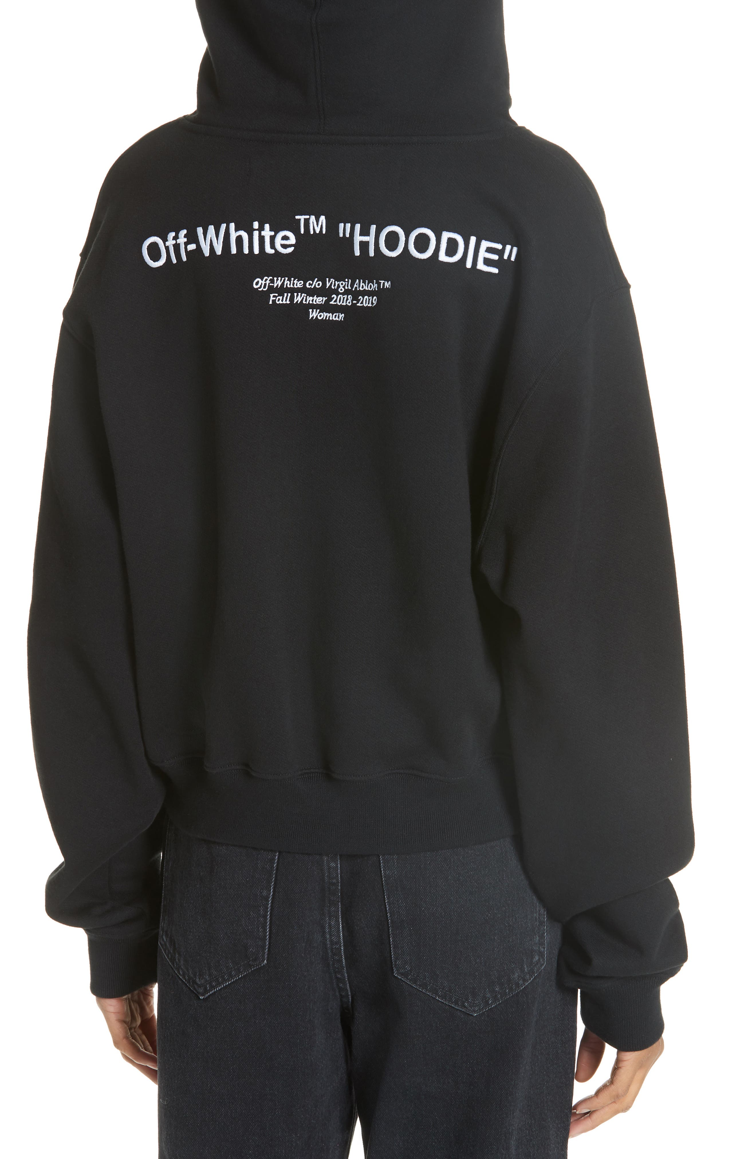 Quotes Crop Hoodie,                             Alternate thumbnail 4, color,                             BLACK WHITE