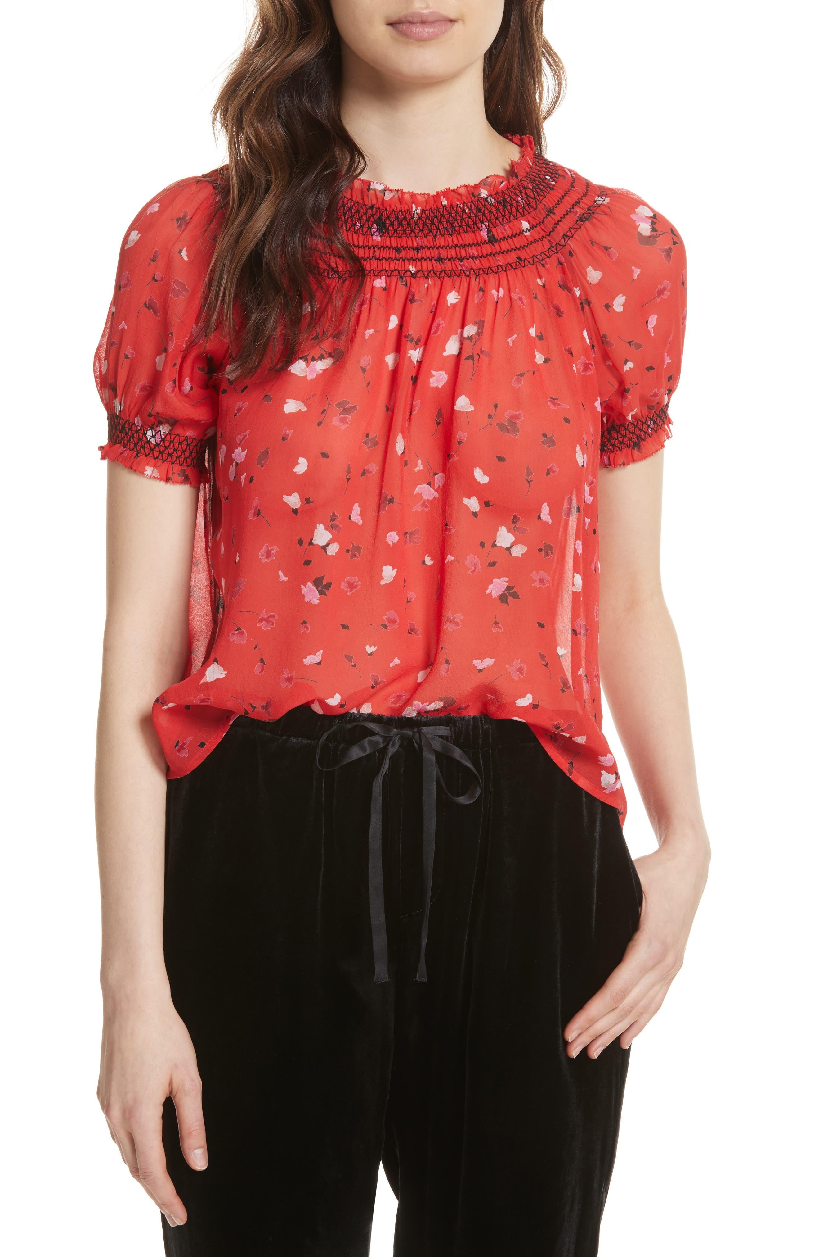 Gualberta Smocked Silk Chiffon Top,                         Main,                         color, 600