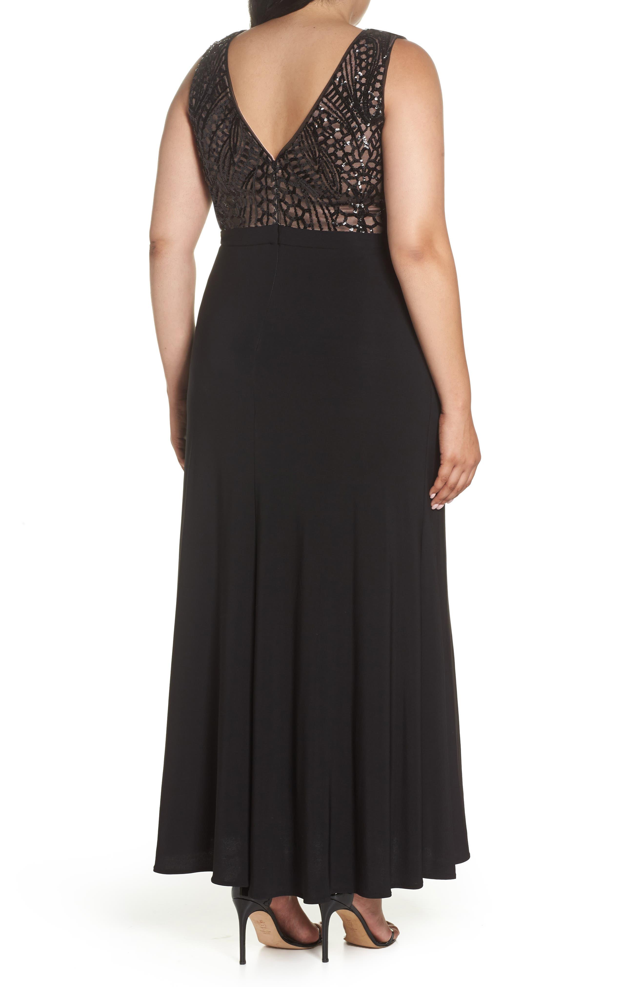 Sequin Bodice Illusion Neck Gown,                             Alternate thumbnail 2, color,                             BLACK