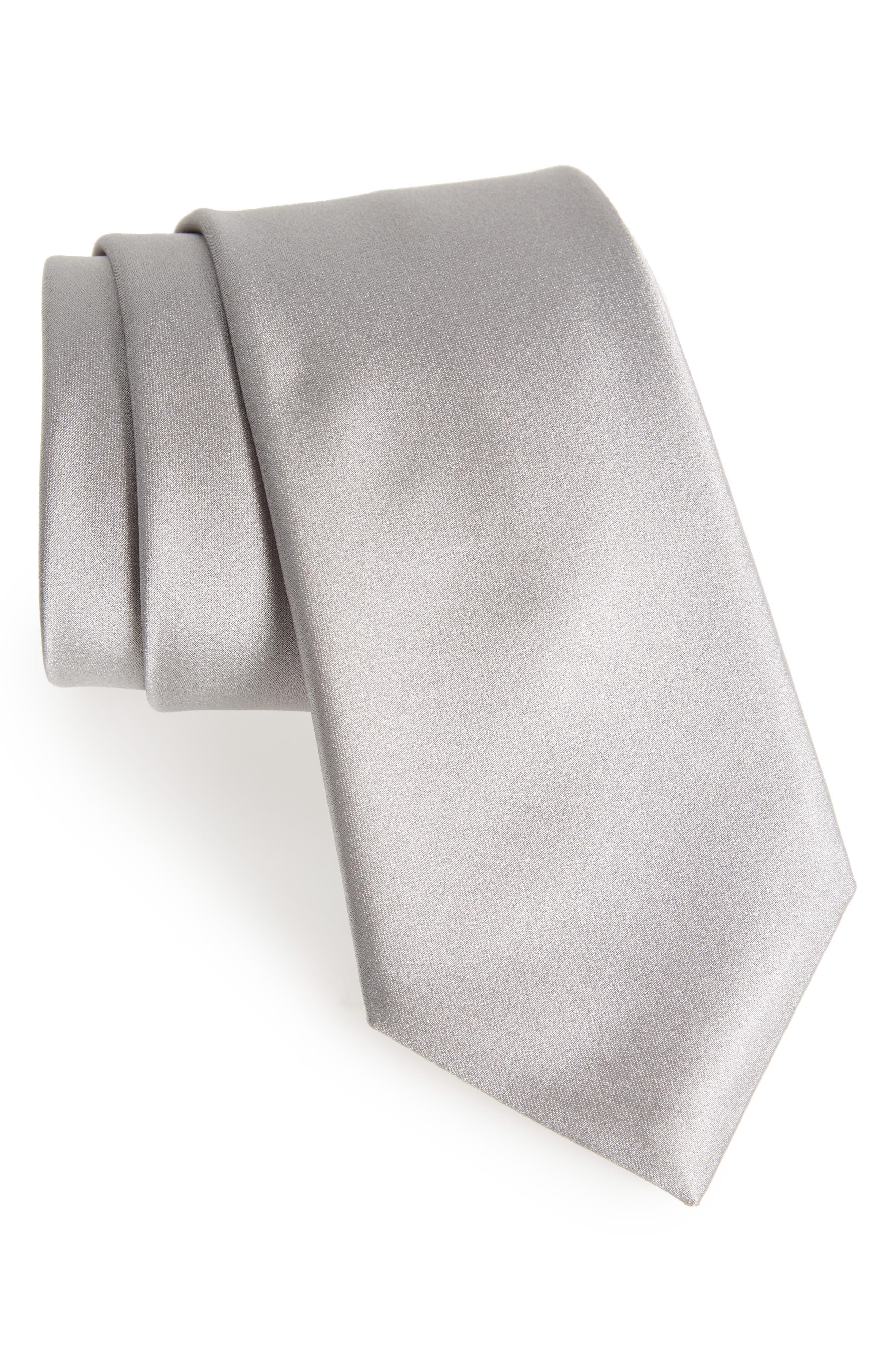 Solid Satin Silk Tie,                             Main thumbnail 1, color,