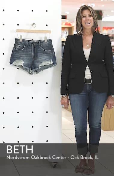 High Waist Frayed Hem Denim Shorts, sales video thumbnail