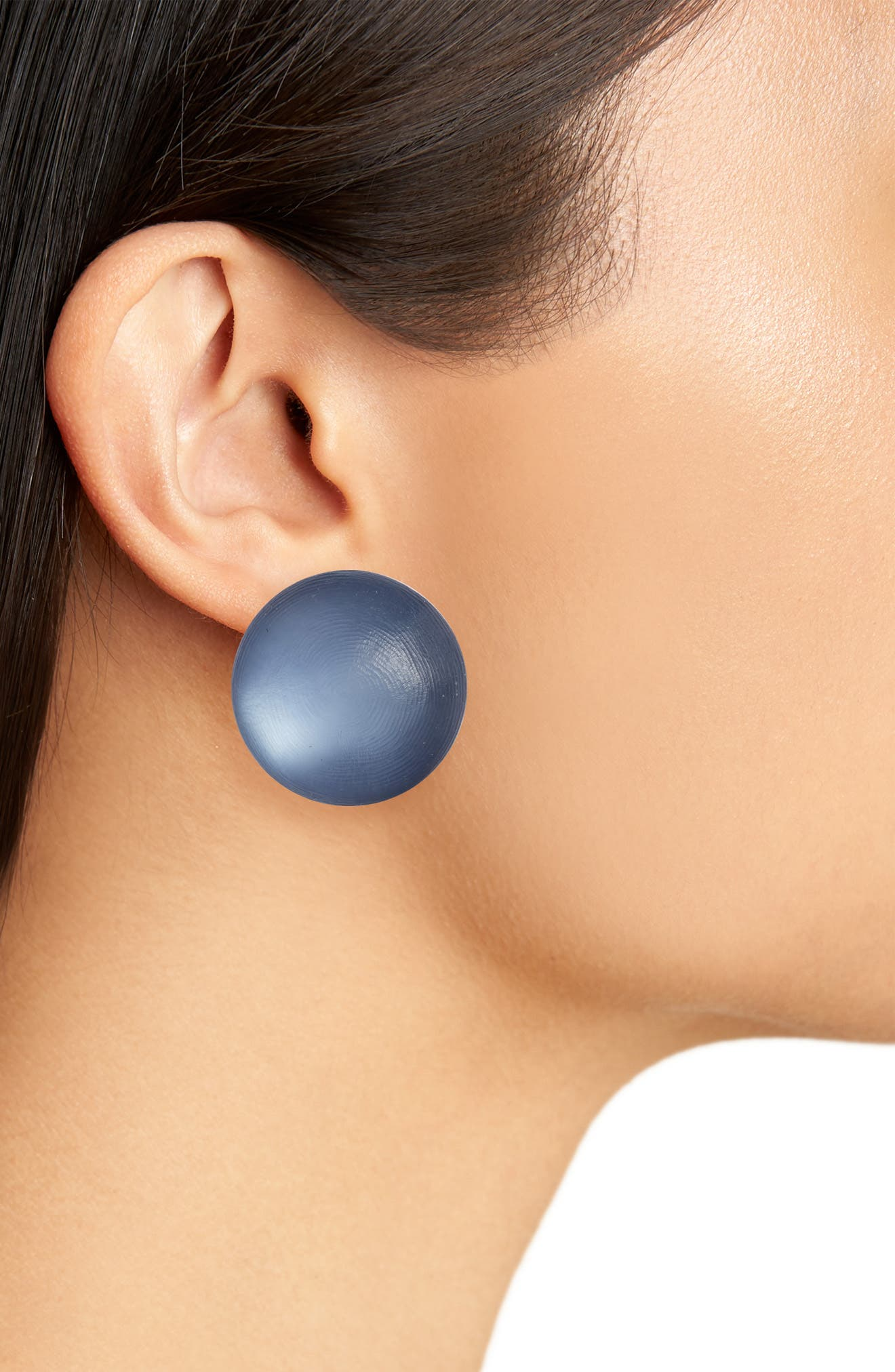 Lucite<sup>®</sup> Medium Dome Clip Earrings,                             Alternate thumbnail 2, color,                             SEA BLUE