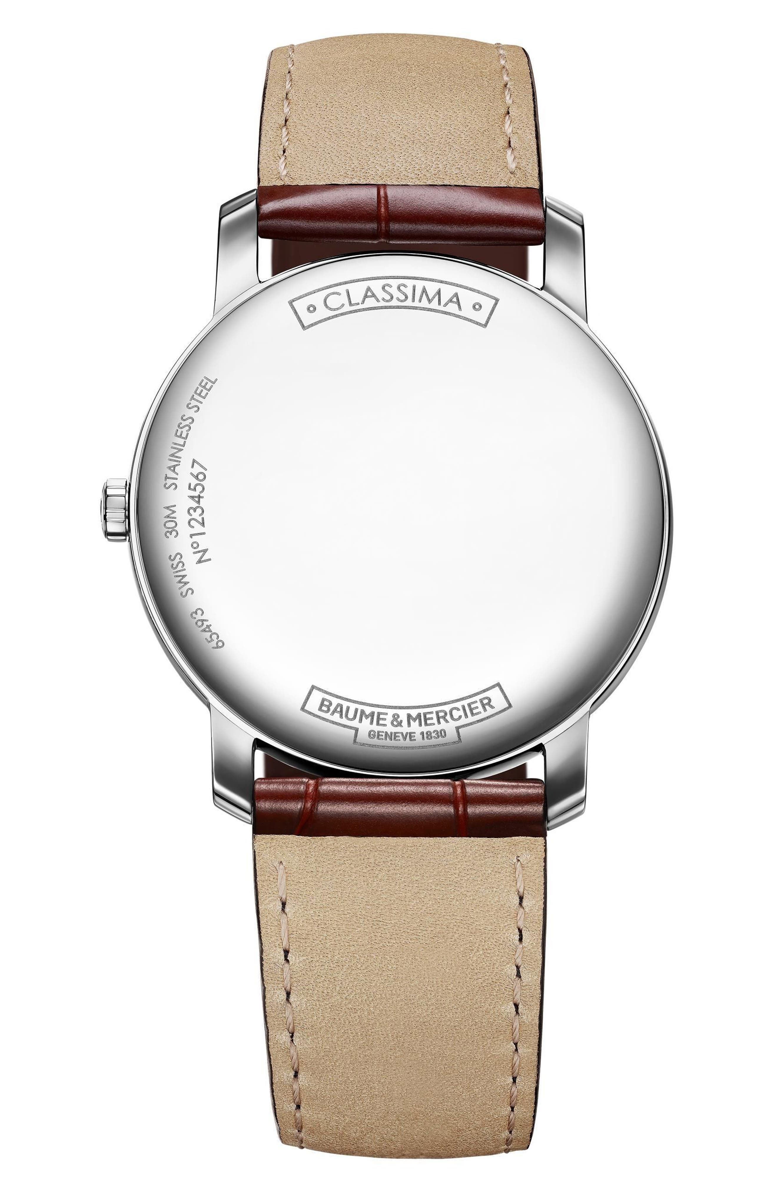 Classima Leather Strap Watch, 42mm,                             Alternate thumbnail 2, color,                             SILVER/ GOLD/ BROWN
