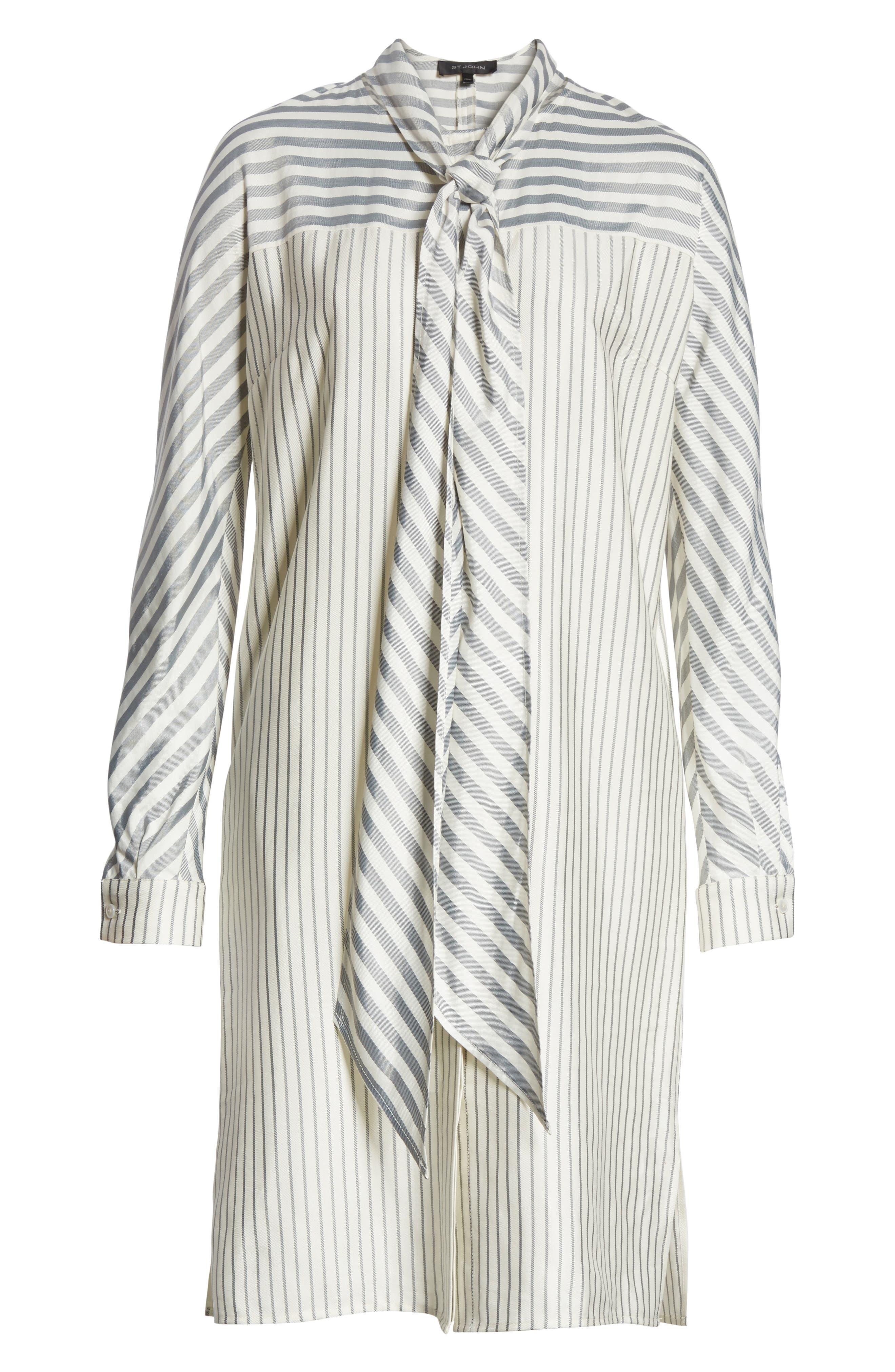 ST. JOHN COLLECTION,                             Stripe Tie Neck Shirtdress,                             Alternate thumbnail 7, color,                             900
