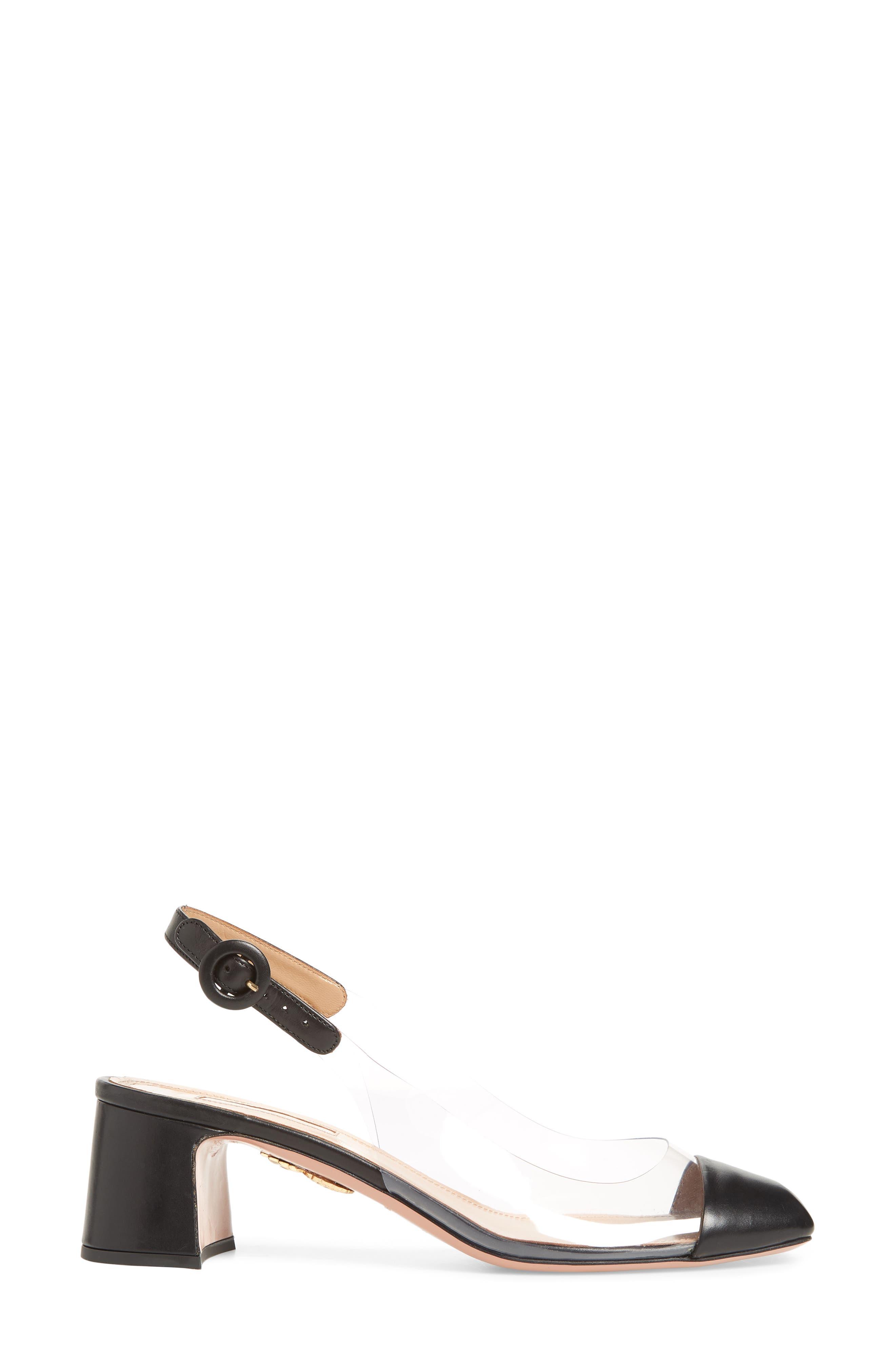 Optic Clear Slingback Pump,                             Alternate thumbnail 3, color,                             BLACK