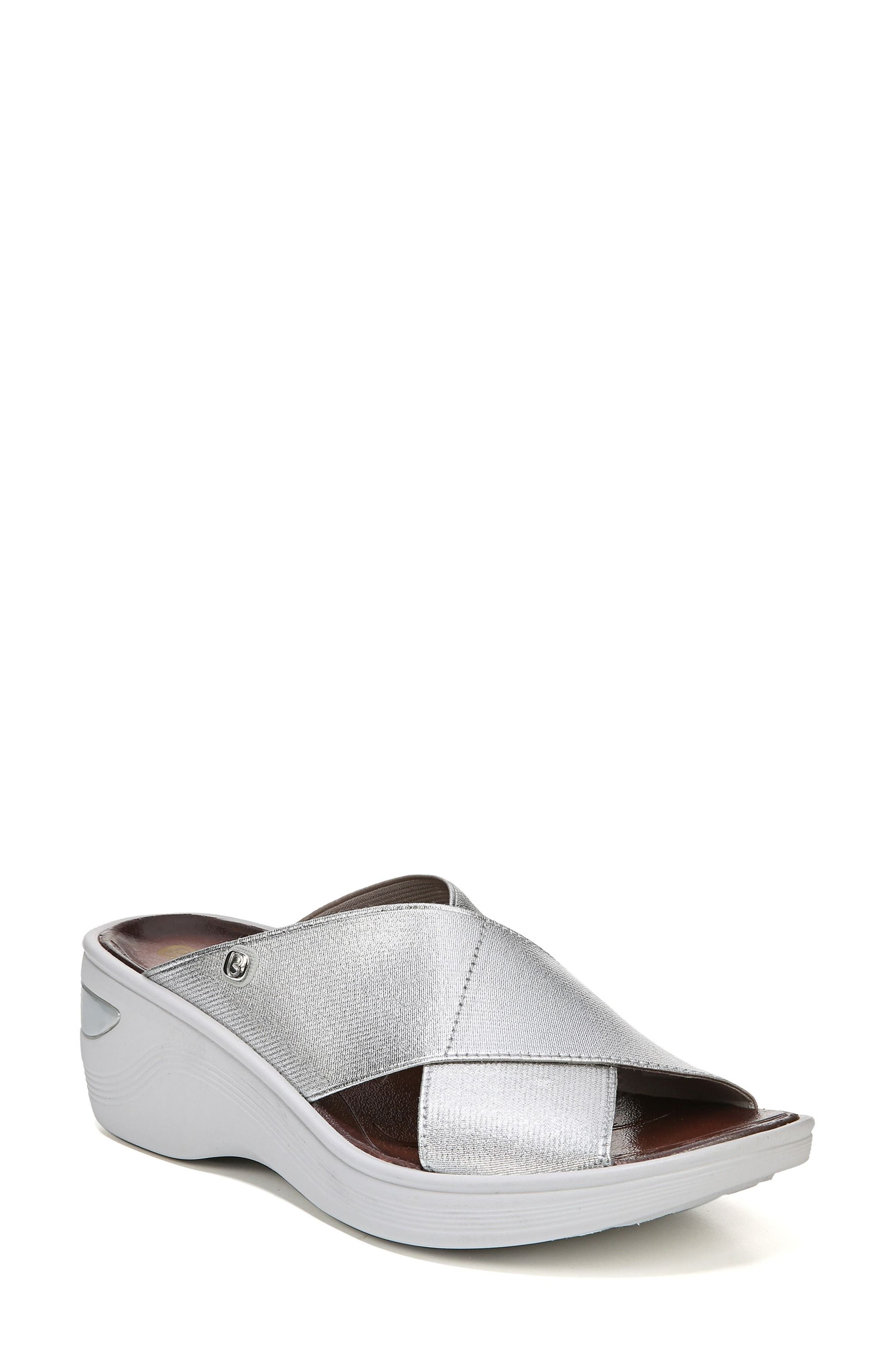 'Desire' Wedge Sandal,                         Main,                         color, SILVER METALLIC
