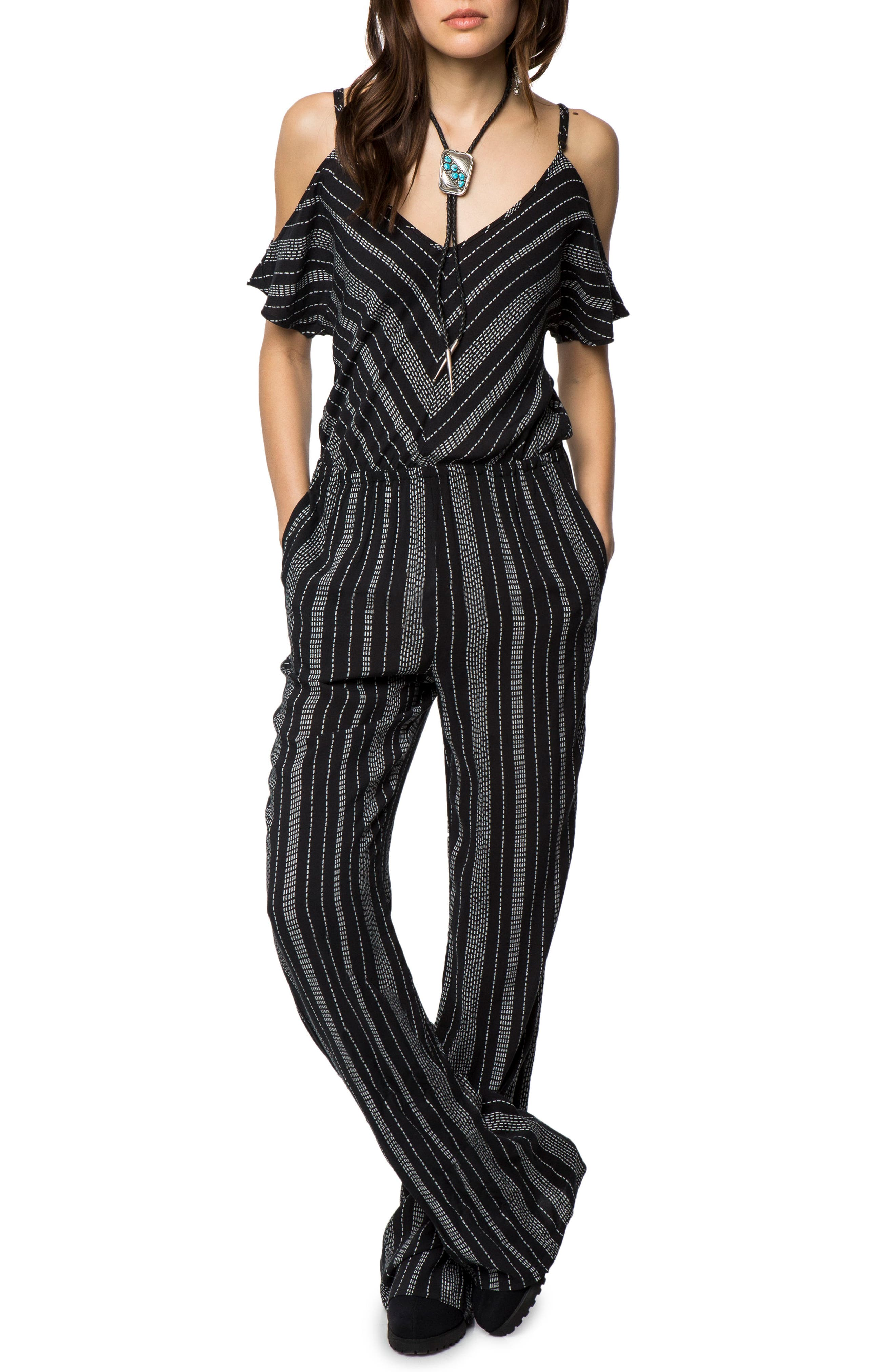 Yolanda Woven Cold Shoulder Jumpsuit,                             Main thumbnail 1, color,
